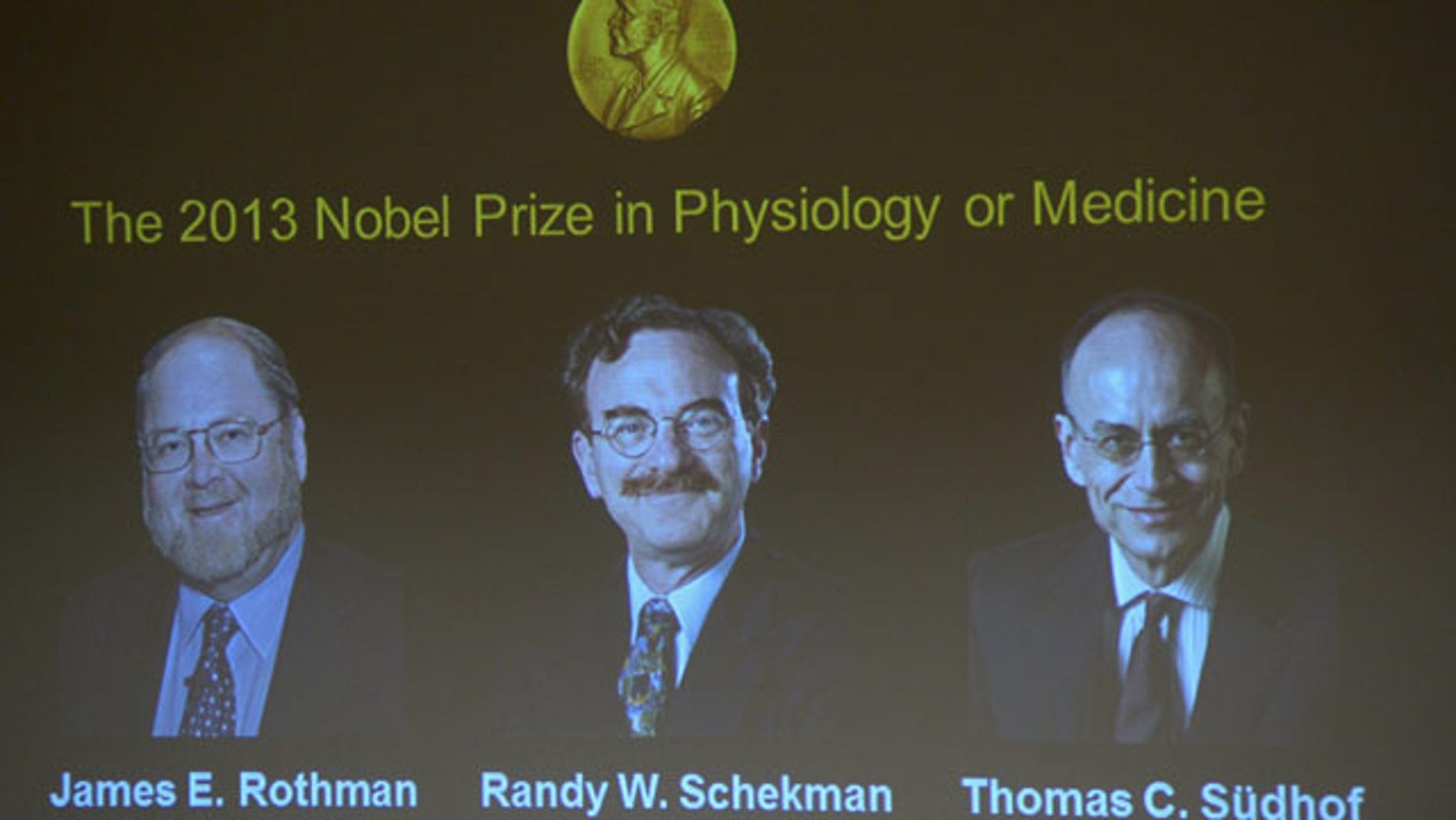 October 7, 2013: Images of James Rothman and Randy Schekman, of the US, and German-born researcher Thomas Suedhof are projected on a screen, in Stockholm, Sweden, Monday after they were announced as the winners of the 2013 Nobel Prize in medicine. (AP Photo)