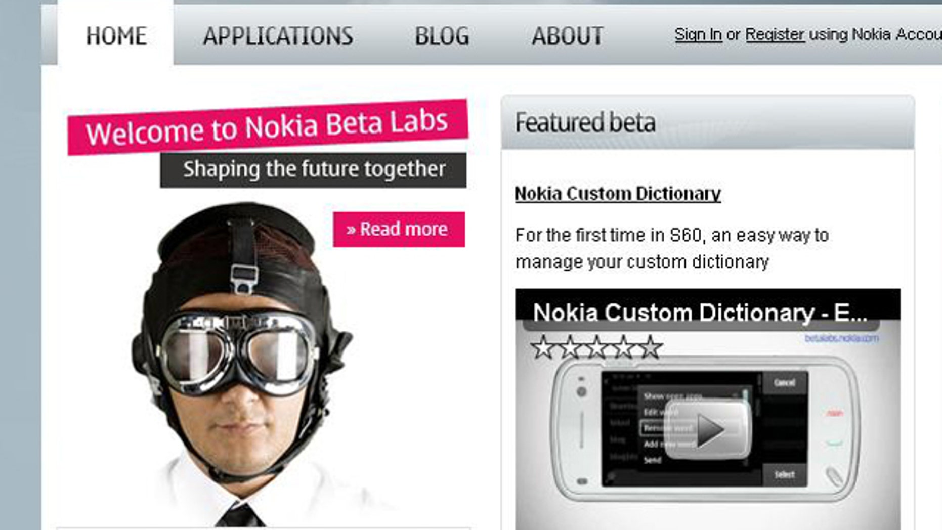 A screen shot of the web site of Nokia Beta Labs, where the company shares new beta software and technologies.