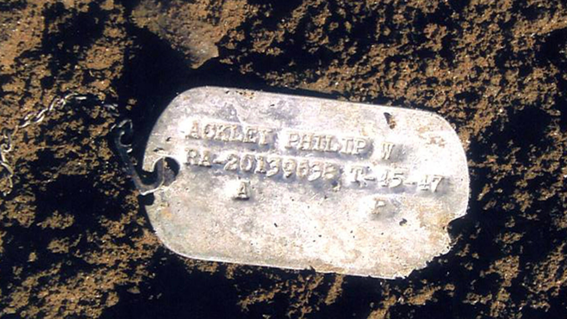 This undated file photo provided on July 14, 2010 by the U.S. Defense Dept. shows Pfc. Philip W. Ackley's Korean War dog tag.  (AP/U.S. Defense Dept.)