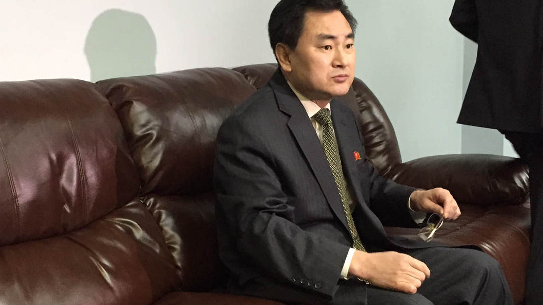 April 8, 2015: North Korea's deputy permanent representative to the United Nations, An Myong Hun, waits to speak to reporters at North Korea's U.N. mission in New York.
