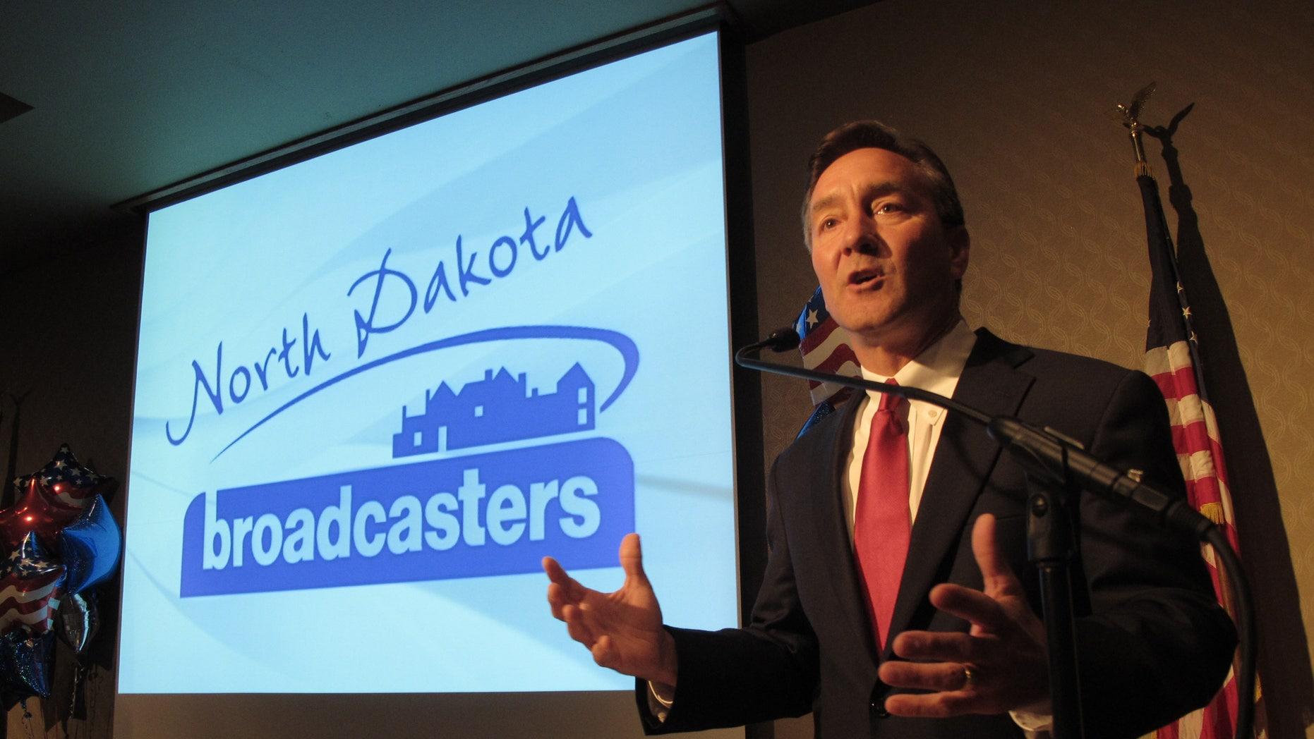 FILE: Sept. 5, 2012: Republican U.S. Senate candidate Rick Berg speaks during a debate at the Radisson Hotel in Bismarck, N.D.