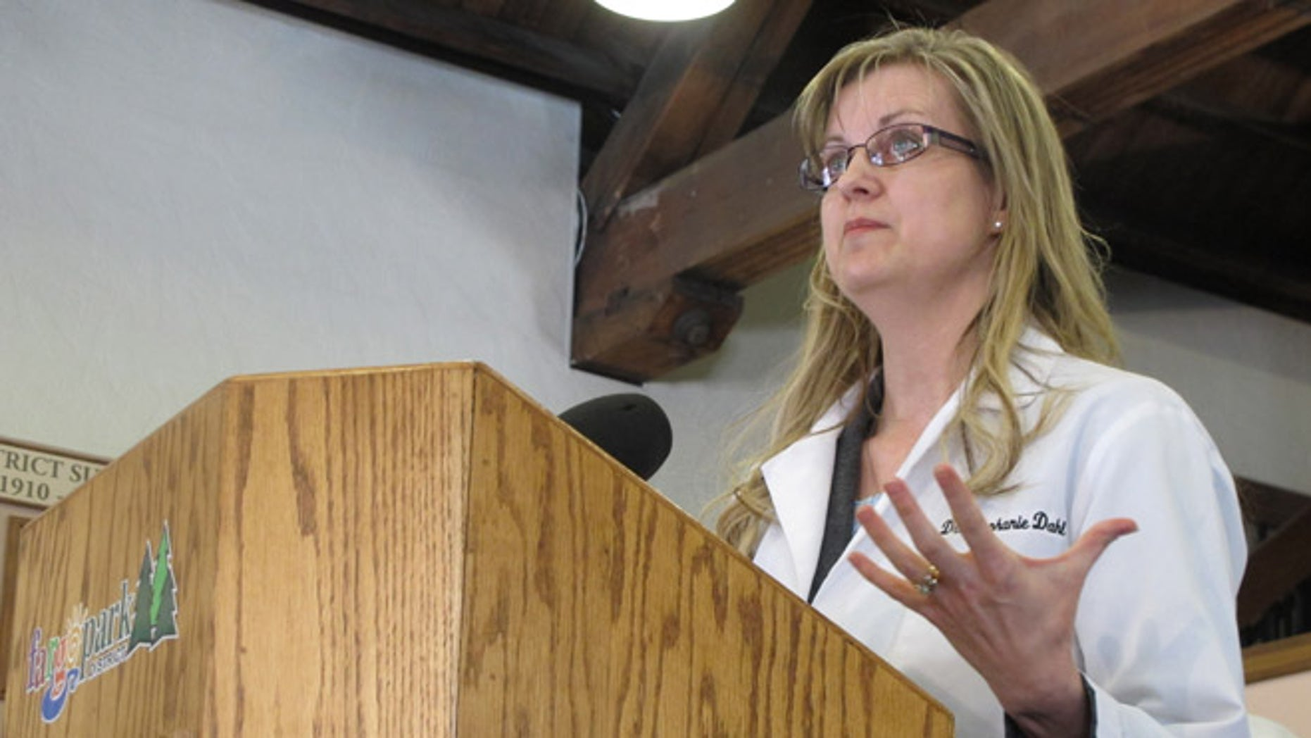 March 18, 2013: Dr. Stephanie Dahl, a Fargo infertility specialist, speaks out against two anti-abortion bills in the North Dakota Legislature during a news conference in Fargo, N.D.