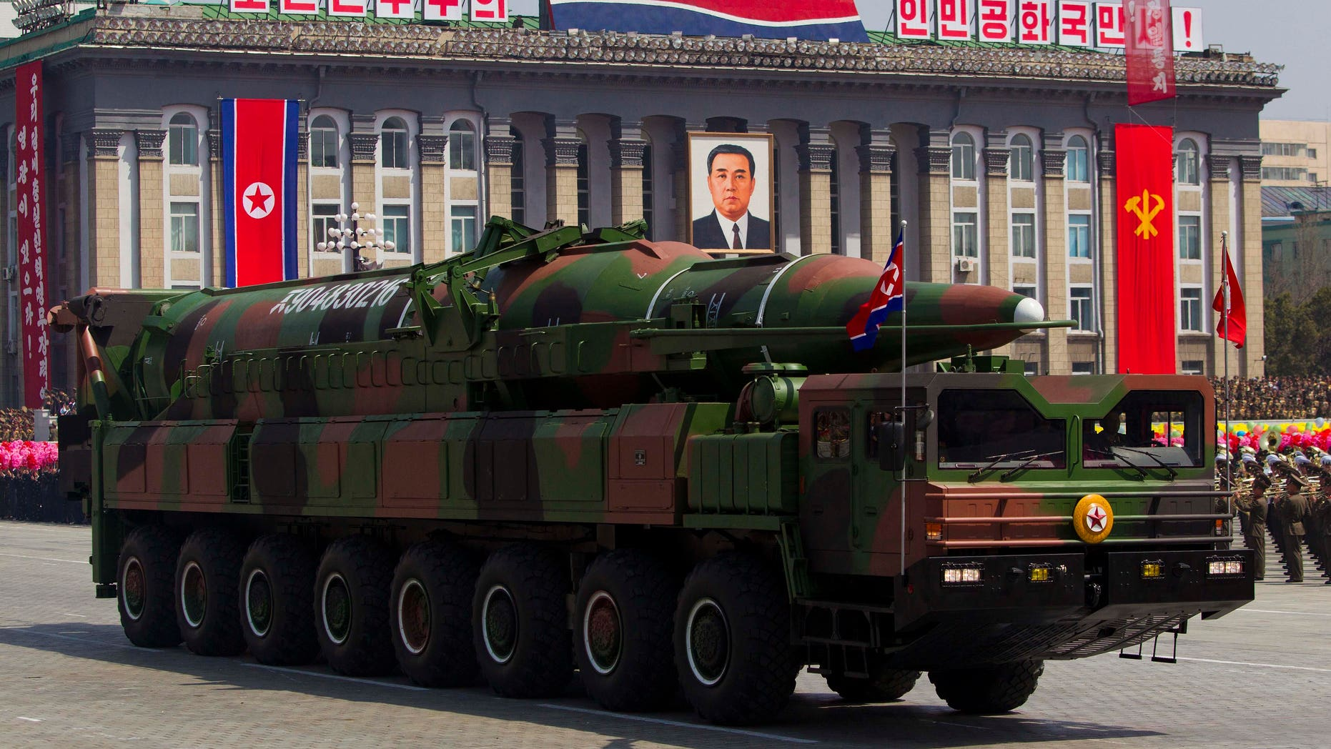 April 15, 2012: In this file photo, a North Korean vehicle carries a missile during a mass military parade in Pyongyang's Kim Il Sung Square to celebrate the centenary of the birth of the late North Korean founder Kim Il Sung.