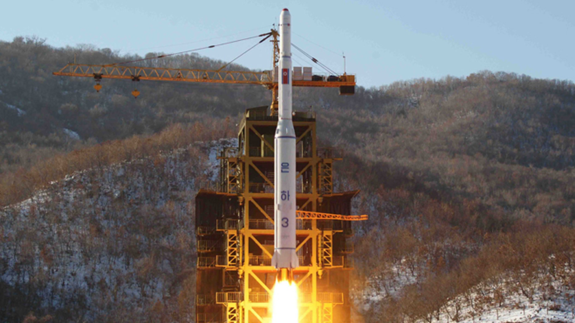 Dec. 12, 2012: In this file photo released by Korean Central News Agency, North Korea's Unha-3 rocket lifts off from the Sohae launch pad in Tongchang-ri, North Korea.