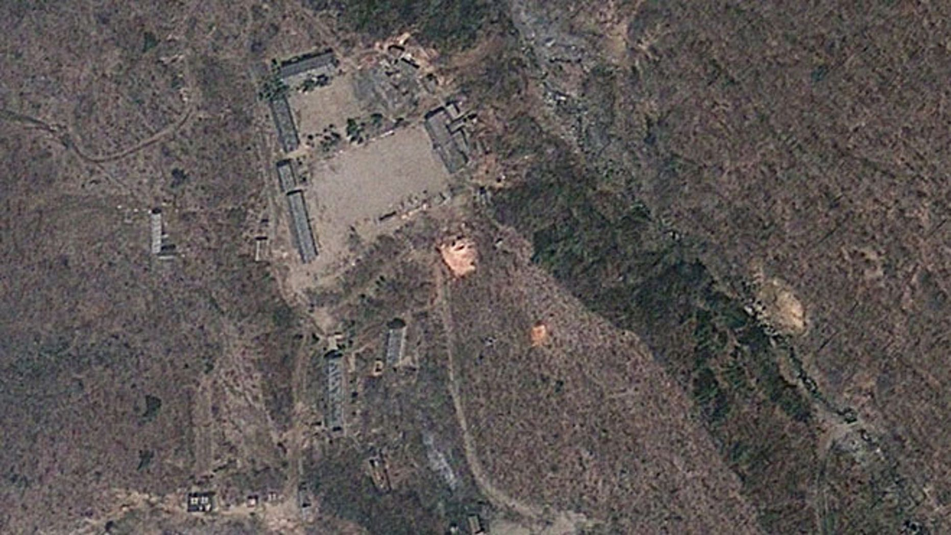 This April 18, 2012 satellite image provided by GeoEye shows North Korea's Punggye-ri nuclear test site.