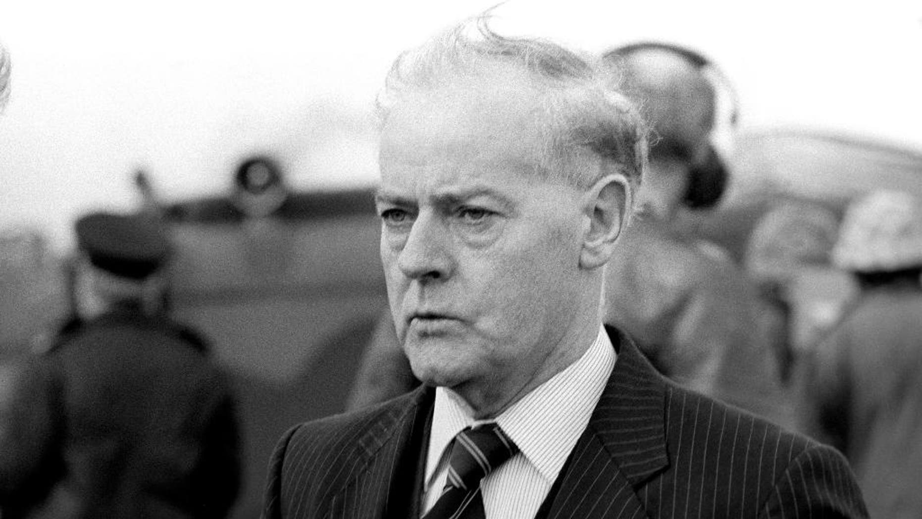FILE - This is a  Oct. 20, 1982  file photo of former Ulster Unionist Party leader Jim Molyneaux. Molyneaux, a quiet but canny politician who led the Ulster Unionist Party through some of Northern Ireland's bloodiest years and the early period of peacemaking, has died at the age of 94. Party colleagues and the Northern Ireland government confirmed his death Monday Match 9, 2015 but did not specify a cause.  (AP Photo/PA, File) UNITED KINGDOM OUT