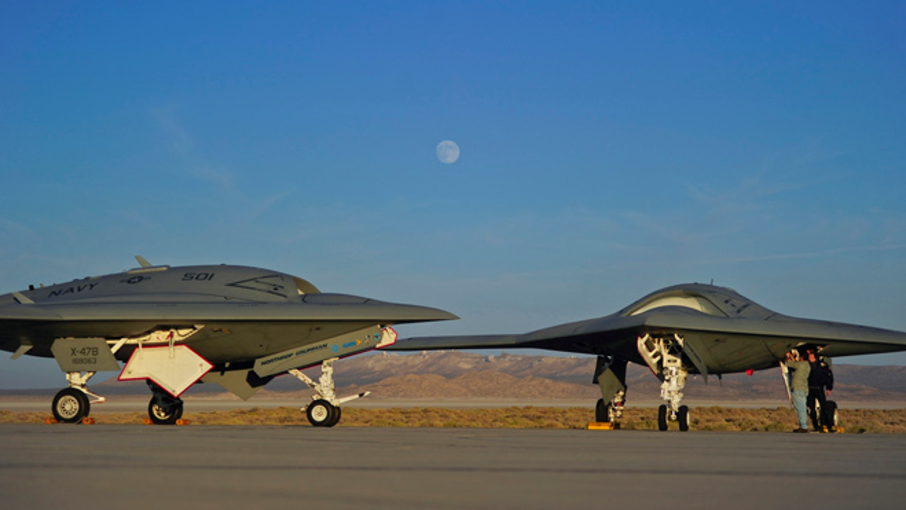 A Northrop Grumman X-47B, shown here, may have been mistaken for a UFO when it was transported on a D.C. highway.