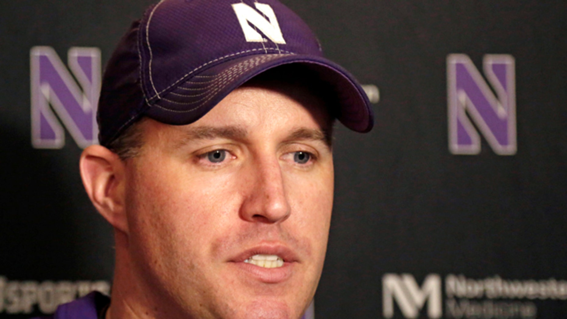 April 1, 2014: Northwestern head football coach Pat Fitzgerald speaks at a news conference after his football team participated in an NCAA college spring football practice in Evanston, Ill. (AP Photo/M. Spencer Green, File)