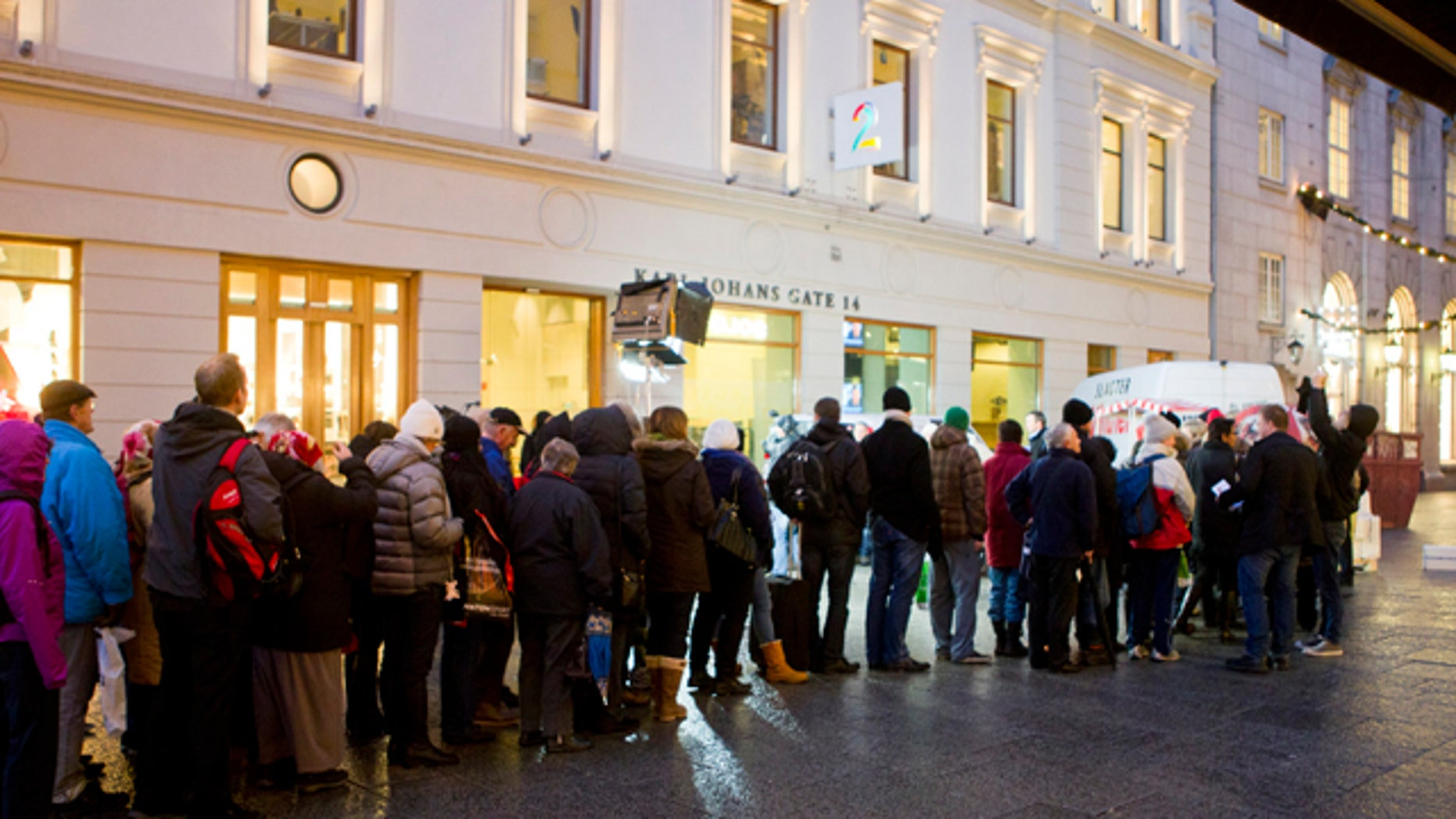 Dec. 9: People line up for Danish butter on the main street of the Norwegian capital Oslo.