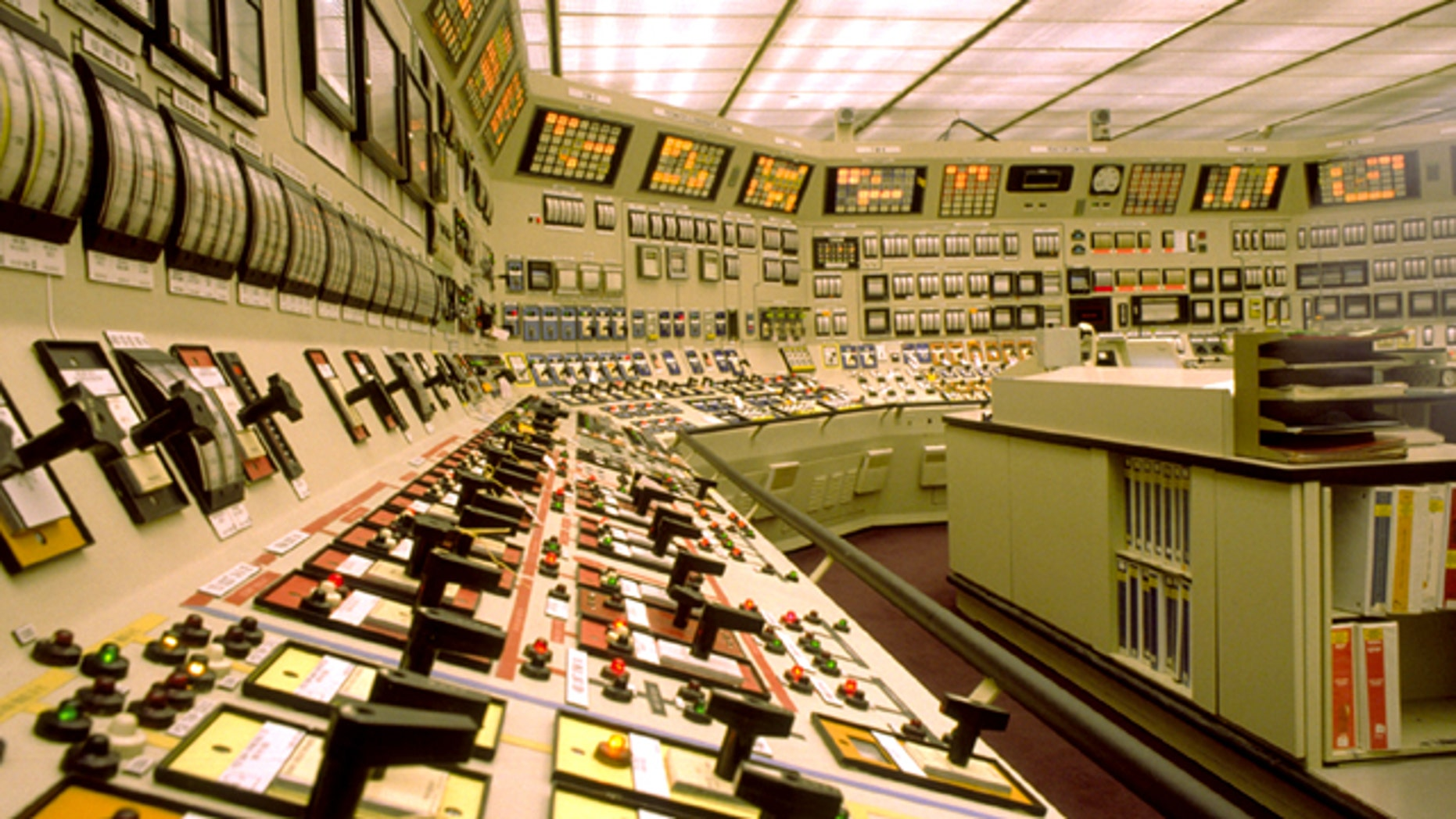 Control room at a nuclear power plant on the aging U.S. electric grid.
