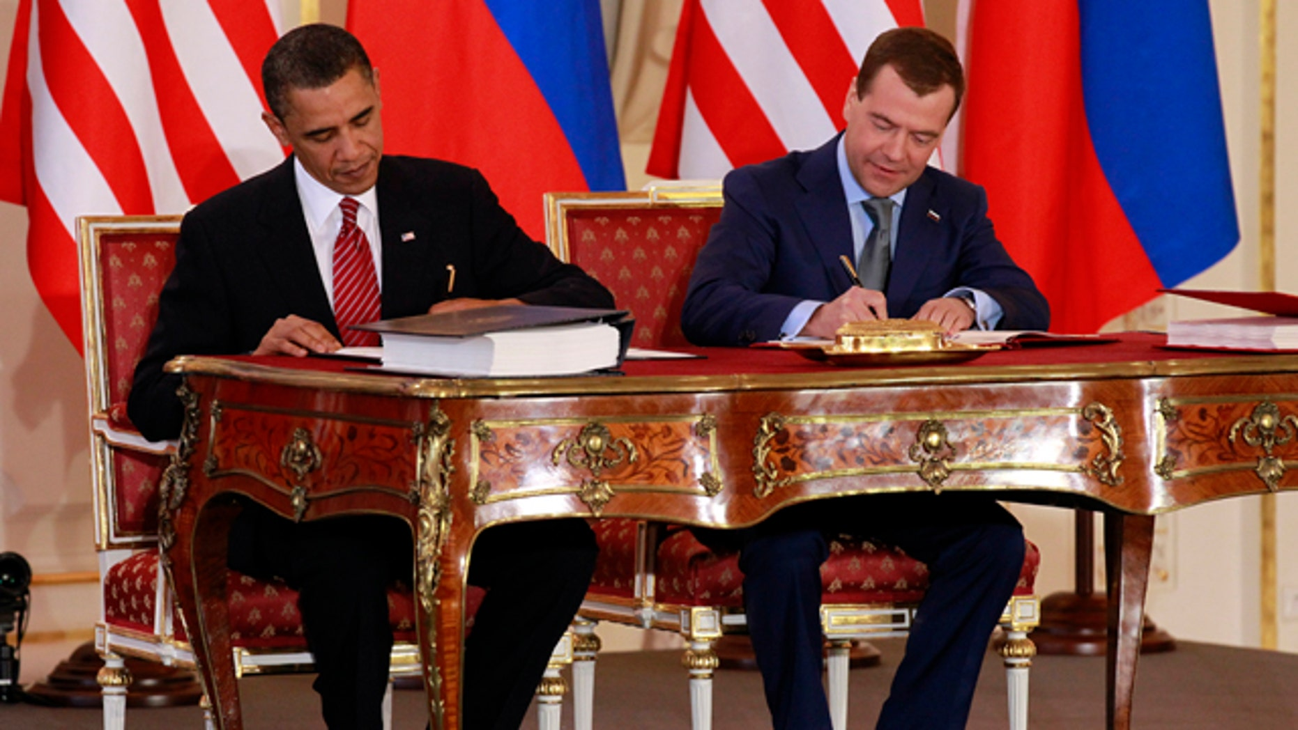April 8, 2010 : President Obama and Russian President Dmitry Medvedev sign the New START in Prague. Obama warns that failure to ratify a new arms control treaty with Russia will undercut American leadership on scores of challenges it faces worldwide.