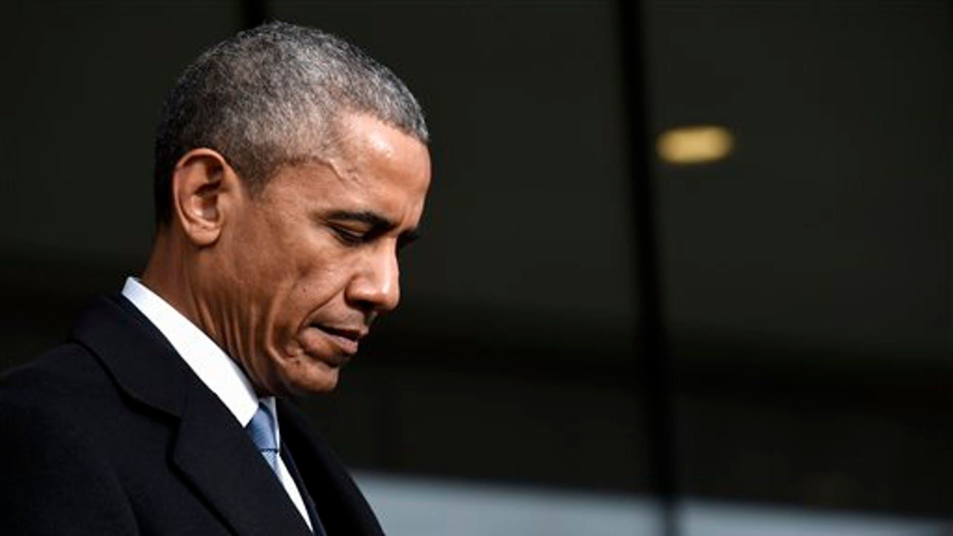 President Barack Obama attends the dedication of the Edward M. Kennedy Institute for the United States Senate in Boston, Monday, March 30, 2015. (AP Photo/Susan Walsh)