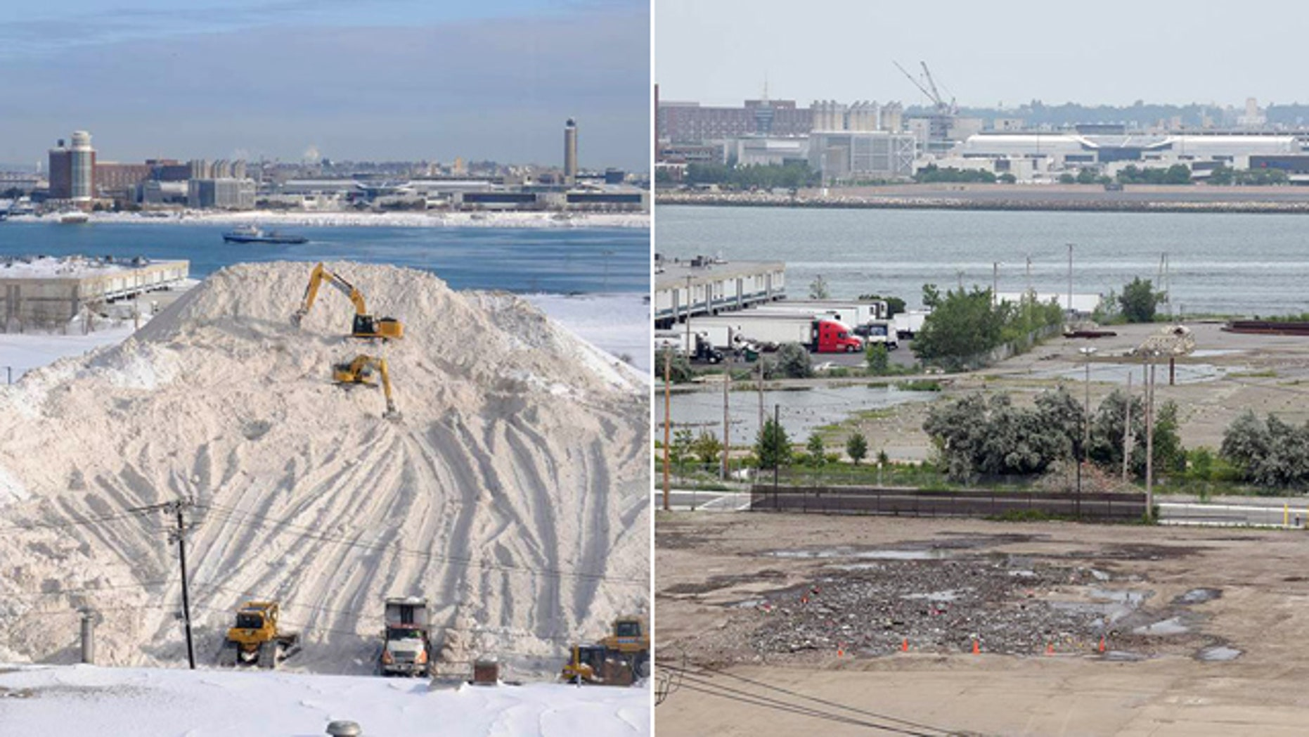 These photos, taken Feb. 18, left, and July 13, show the melting of a pile of snow in Boston. Mayor Martin Walsh announced Tuesday that the pile has officially dwindled to nothing. (Jim Walker/Conventures, Inc. via AP)