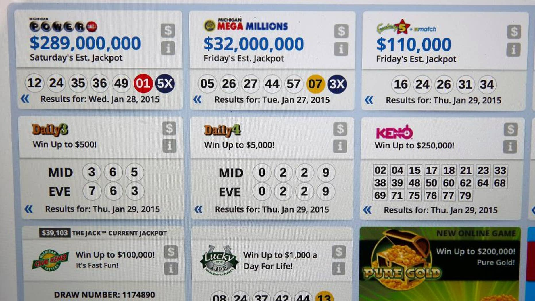 Winning numbers are shown on the Michigan Lottery webpage in Detroit Friday, Jan. 30, 2015. The winning numbers for the Midday Daily 4 on Thursday afternoon and the Daily 4 numbers drawn that evening were the same: zero, two, two and nine. (AP Photo/Paul Sancya)