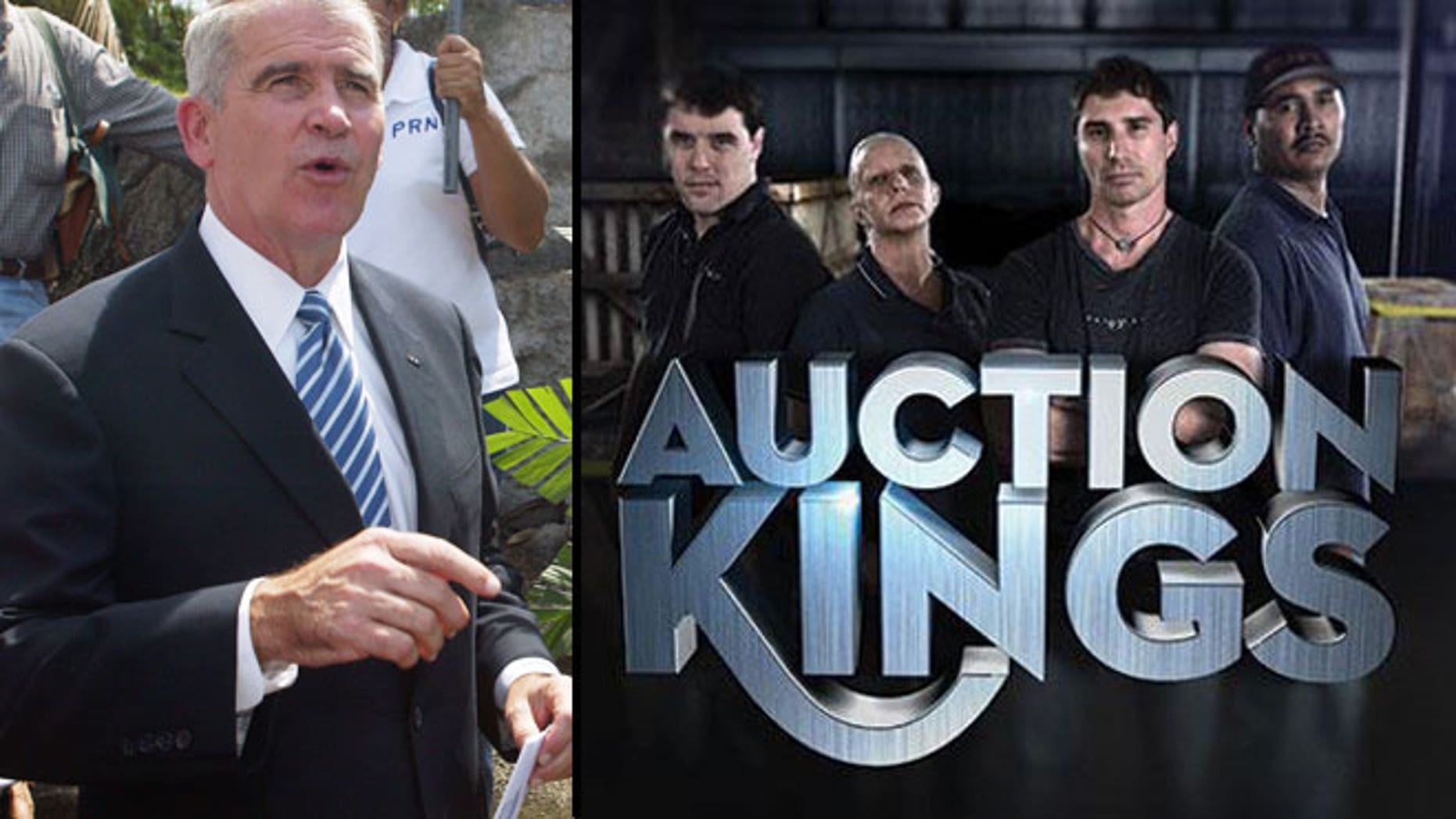 "Oliver North (left) and the team from ""Auction Kings."""