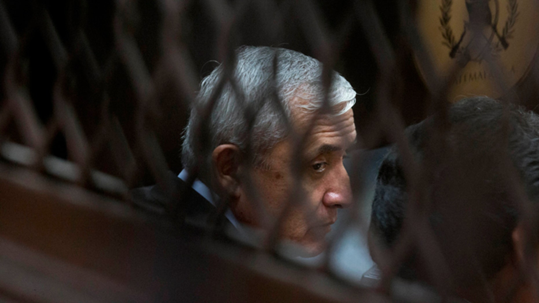 Guatemala's former president Otto Pérez Molina sits in court in Guatemala City, Sept. 8, 2015.