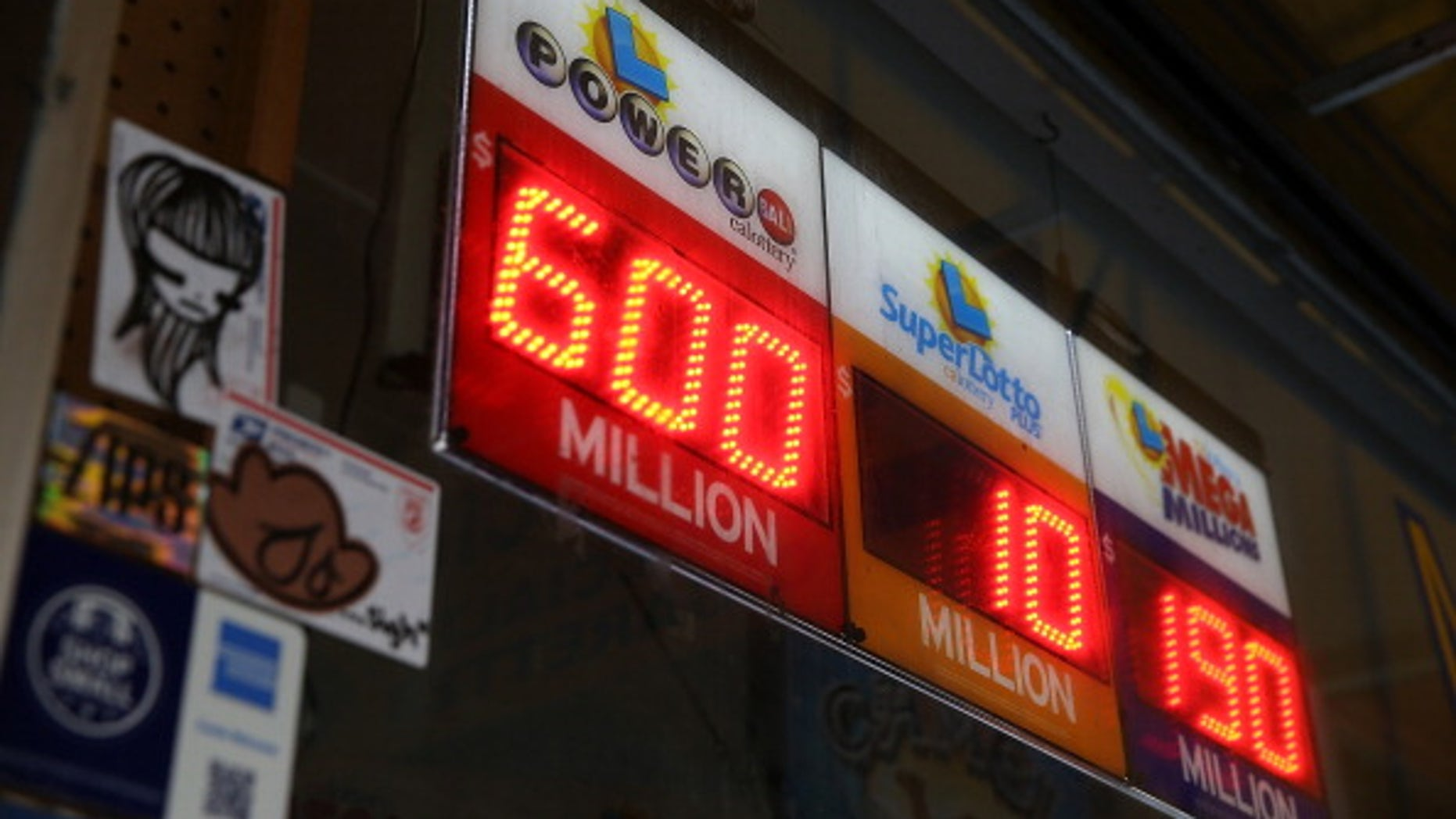 SAN FRANCISCO, CA - MAY 17:  A sign shows the Powerball jackpot at $600 million on May 17, 2013 in San Francisco, California.  People are lining up to purchase $2 Powerball tickets as the multi-state jackpot hits $600 million.  (Photo by Justin Sullivan/Getty Images)