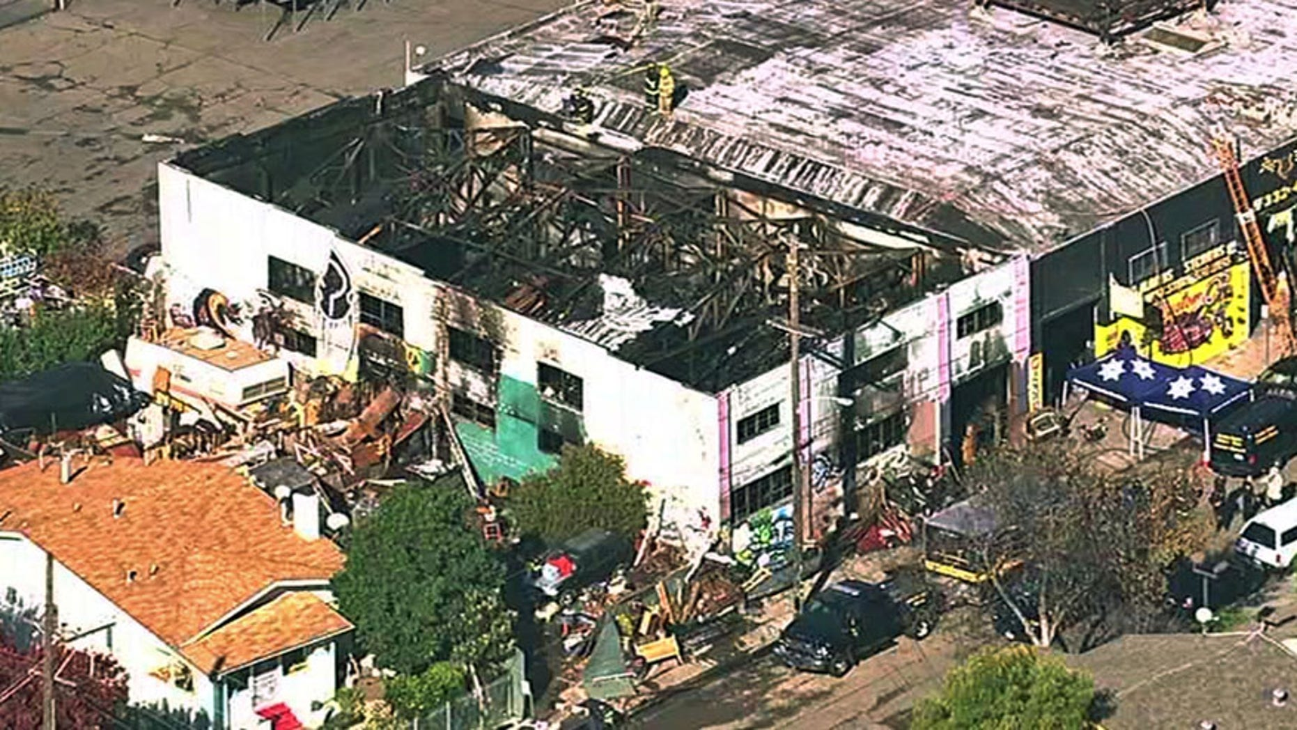 "The ""Ghost Ship"" rave-party warehouse is seen after a deadly fire, in Oakland, Calif., in December 2016."