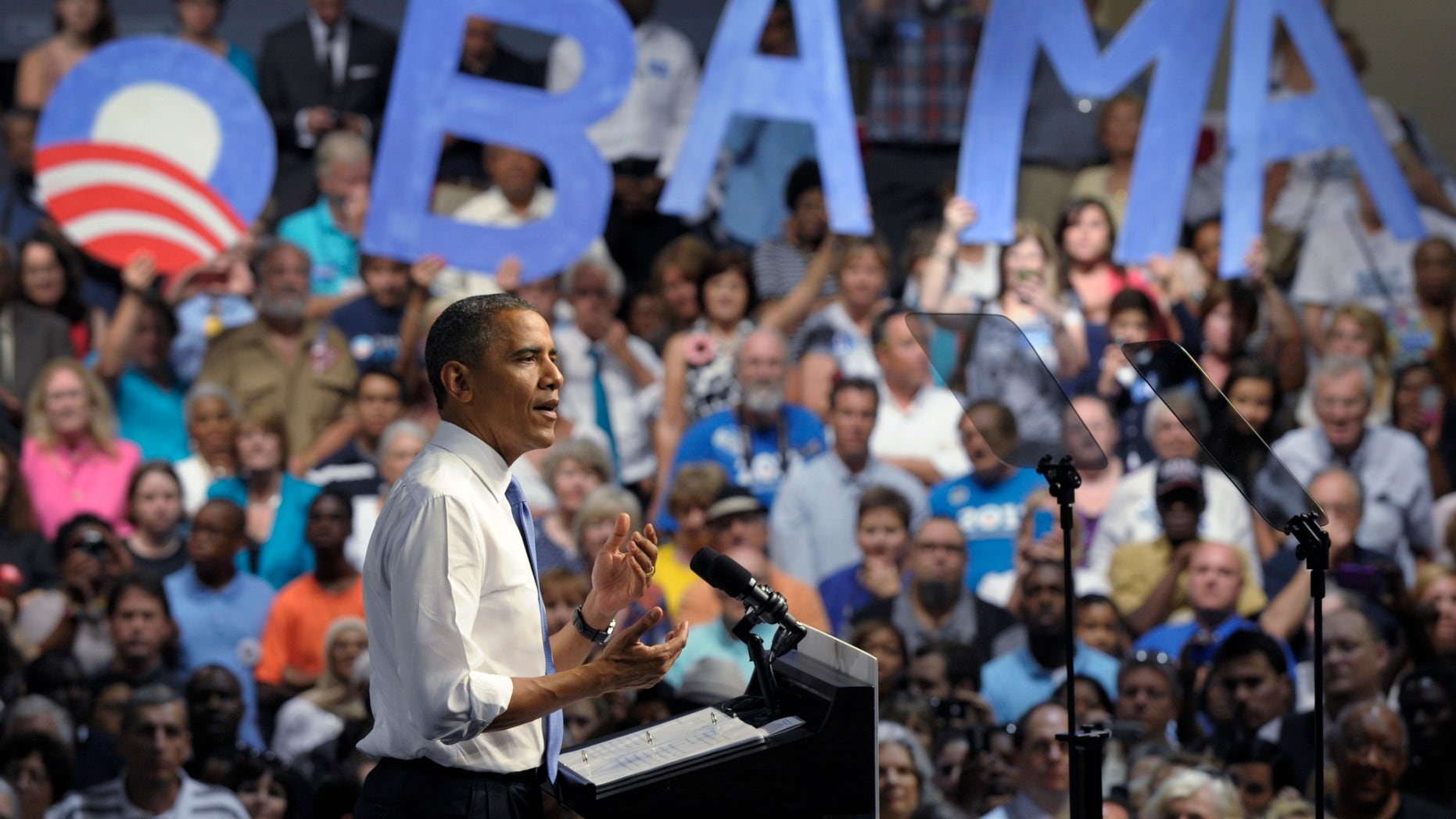 July 19, 2012: President Barack Obama speaks at a campaign event at the Prime Osborn Convention Center in Jacksonville, Fla.