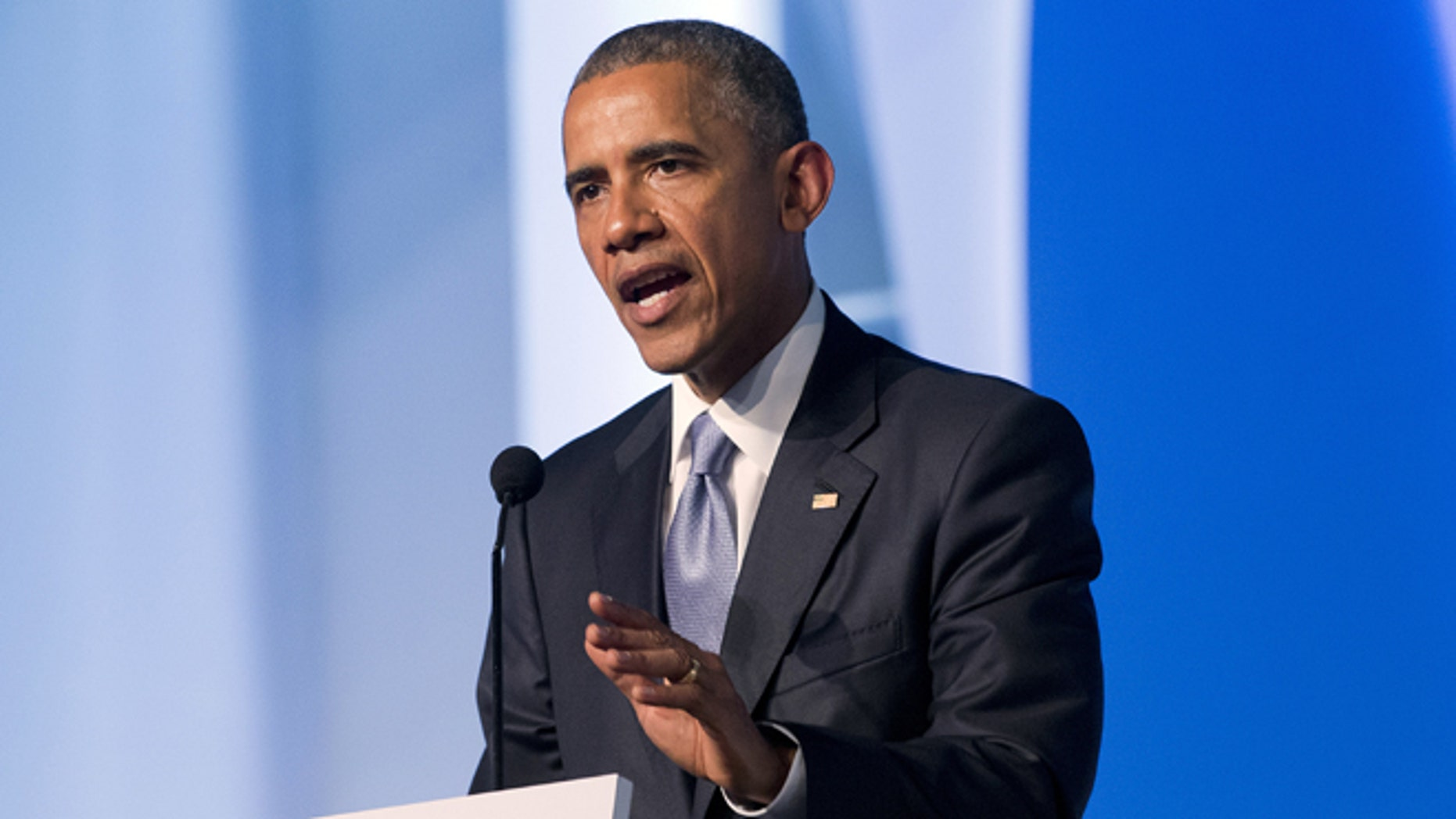 U.S. President Barack Obama speaks at the Civil Society Forum in Panama City, Panama, Friday, April 10, 2015. Obama is in Panama to attend the VII Summit of the Americas. (AP Photo/Pablo Martinez Monsivais)
