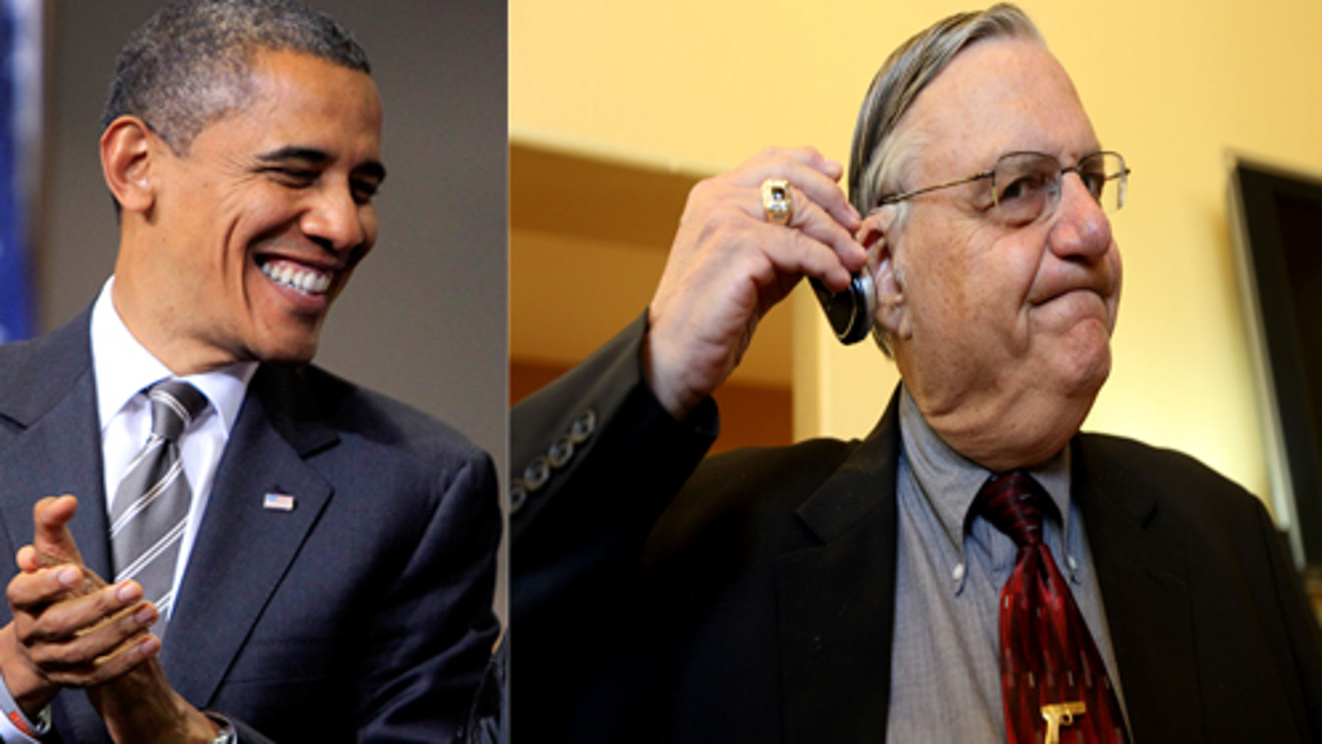 At two different unrelated events, President Barack Obama is on the left and Sheriff Joe Arpaio is pictured on the right.