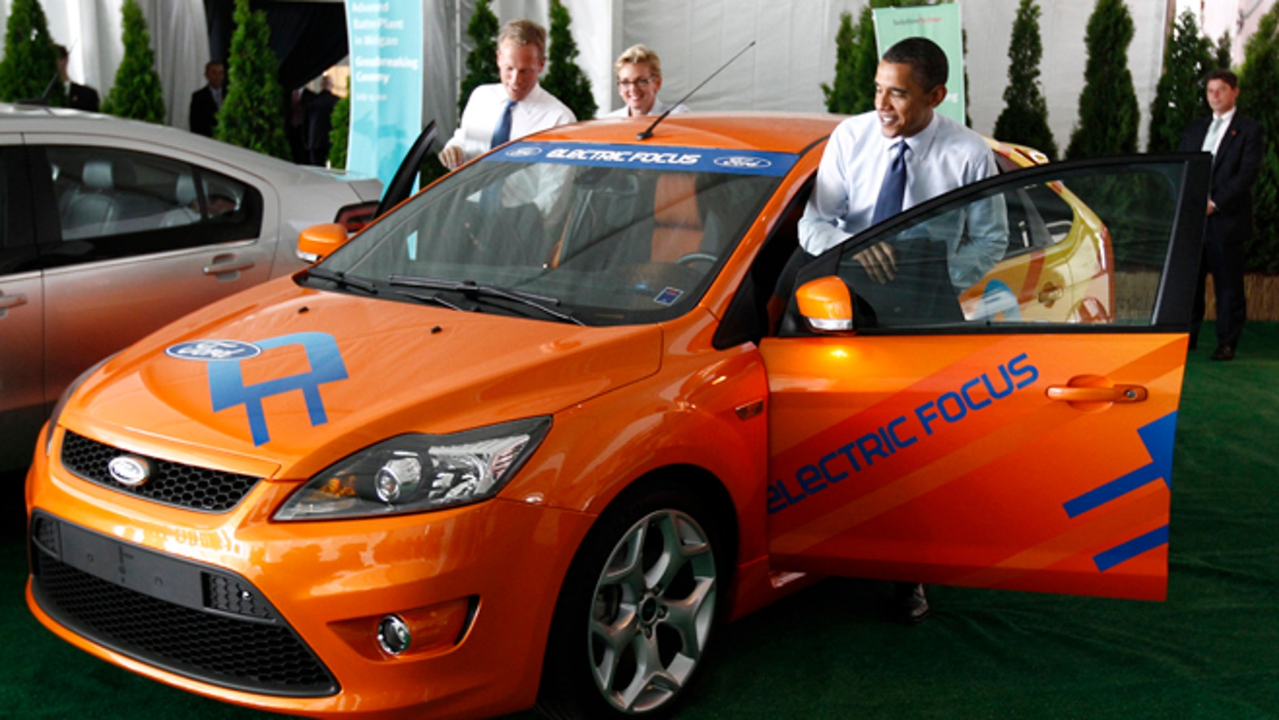 July 15 2010 President Gets Into An Electric Ford Focus As He Attends
