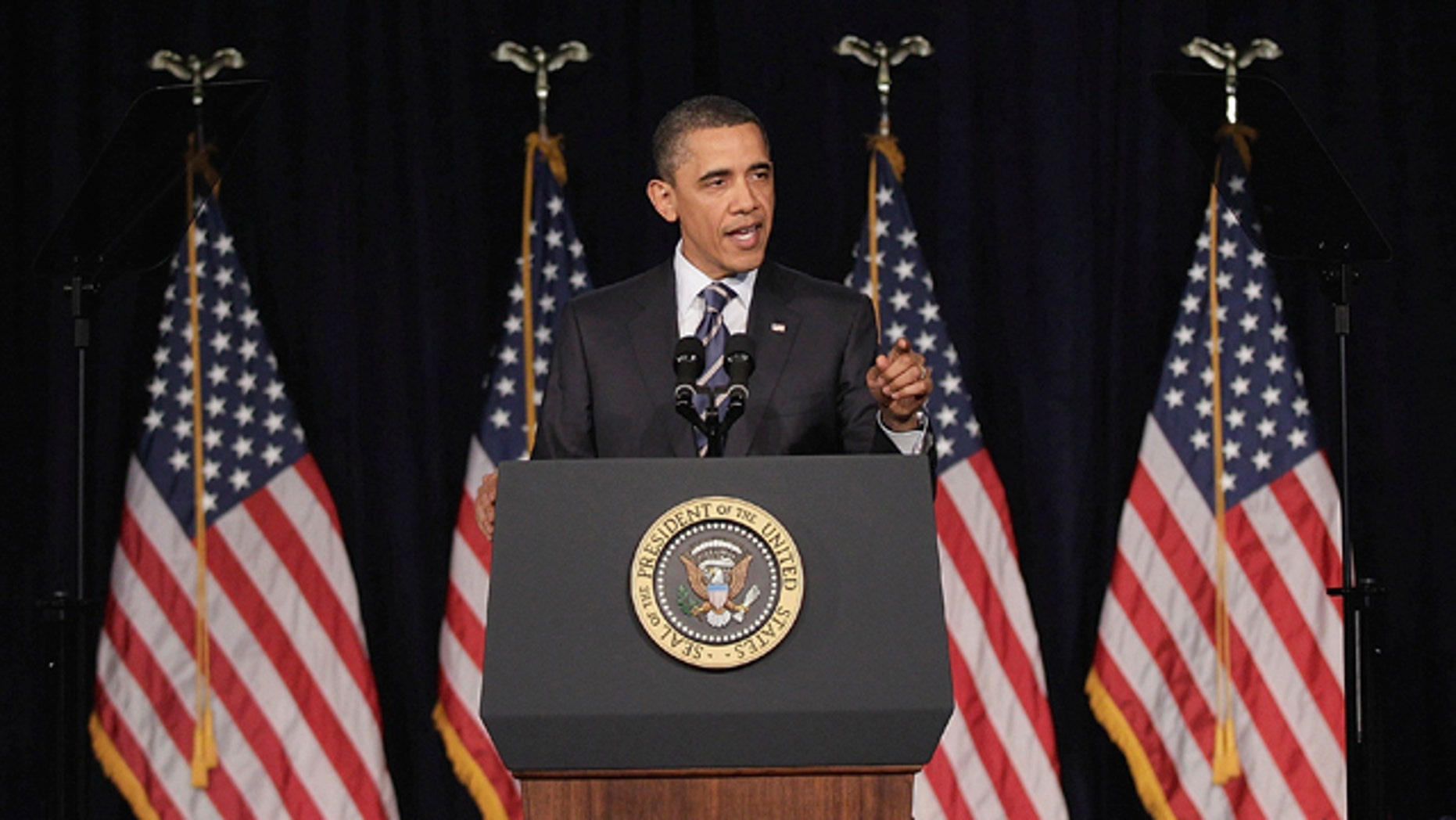 April 13: President Barack Obama outlines his fiscal policy during an address at George Washington University in Washington.