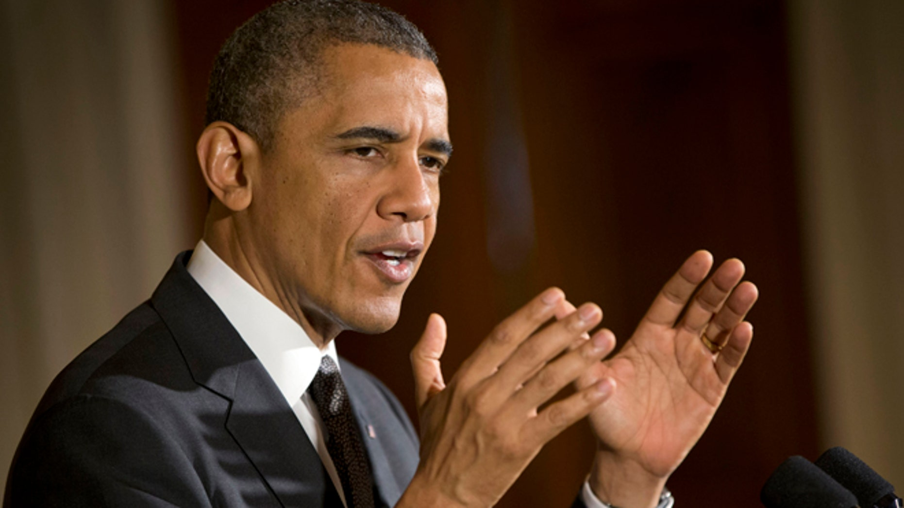 President Barack Obama speaks at a celebration of Cinco de Mayo in the East Room of the White House in Washington, Monday, May 5, 2014. (AP Photo/Pablo Martinez Monsivais)