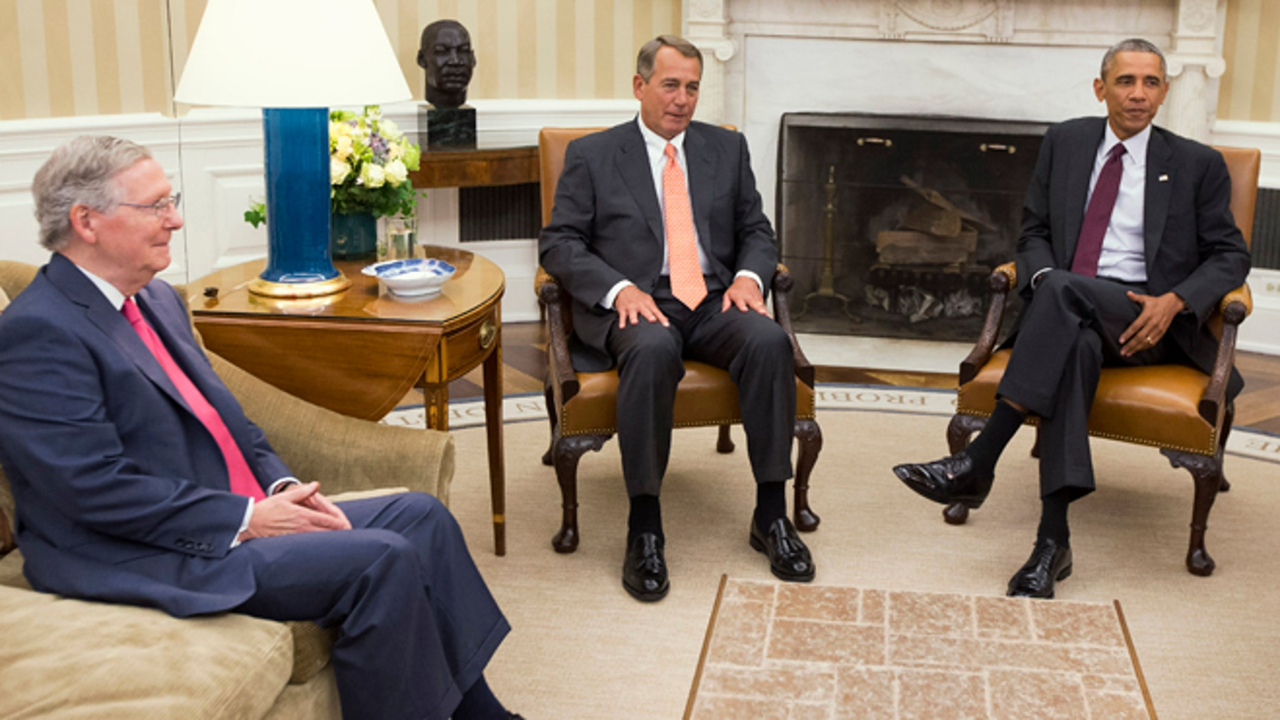 FILE - In this Sept. 9, 2014 file photo, President Barack Obama meets with Senate Minority Leader Mitch McConnell of Ky., left, and House Speaker John Boehner of Ohio in the Oval Office of the White House in Washington. The new Congress convenes Tuesday with Republicans in control of the House and the Senate as a formidable counterpoint to President Barack Obama in his final two years in office. Obama has the power to veto legislation, an action hes only taken twice in six years. Expect plenty more in the next 24 months in showdowns between the Democratic president and the GOP-led Congress.  (AP Photo/Evan Vucci, File)