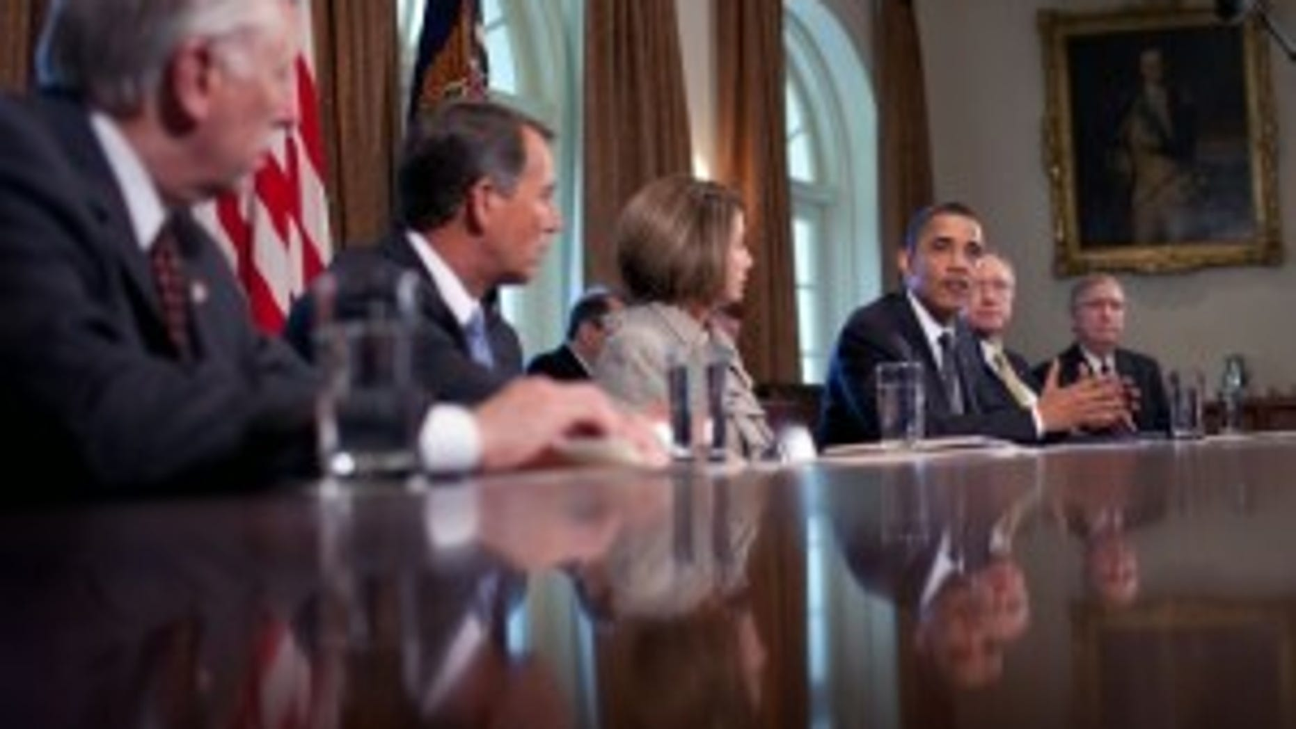President Barack Obama meets with Congressional leaders in the Cabinet Room of the White House to discuss Wall Street reform. From left, Rep. Steny Hoyer, D-Md, Rep. John Boehner, R-Ohio, House Speaker Nancy Pelosi, D-Calif., the President, Senate Majority Leader Harry Reid, D-Nev., and Sen. Mitch McConnell, R-Ky. April 14, 2010. (Official White House Photo by Chuck Kennedy)