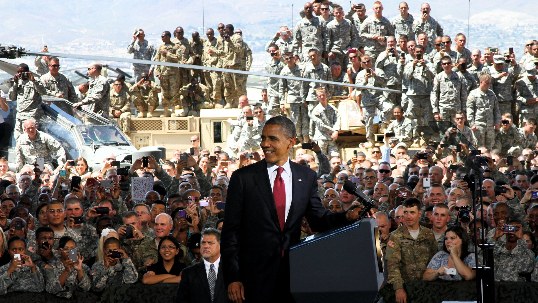 Aug. 31, 2012: President Obama speaks to troops, service members and military families at the 1st Aviation Support Battalion Hangar at Fort Bliss in El Paso, Texas.