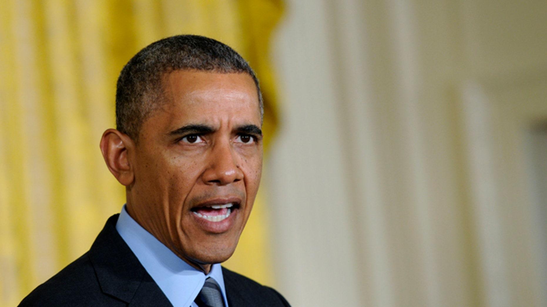 FILE -- President Barack Obama speaks in the East Room of the White House in Washington, Thursday, May 29, 2014.