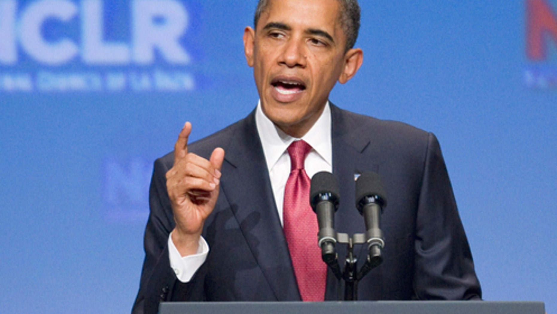 President Barack Obama gestures while addressing the annual National Council of La Raza conference in Washington, Monday, July 25, 2011.  (AP Photo/Evan Vucci)