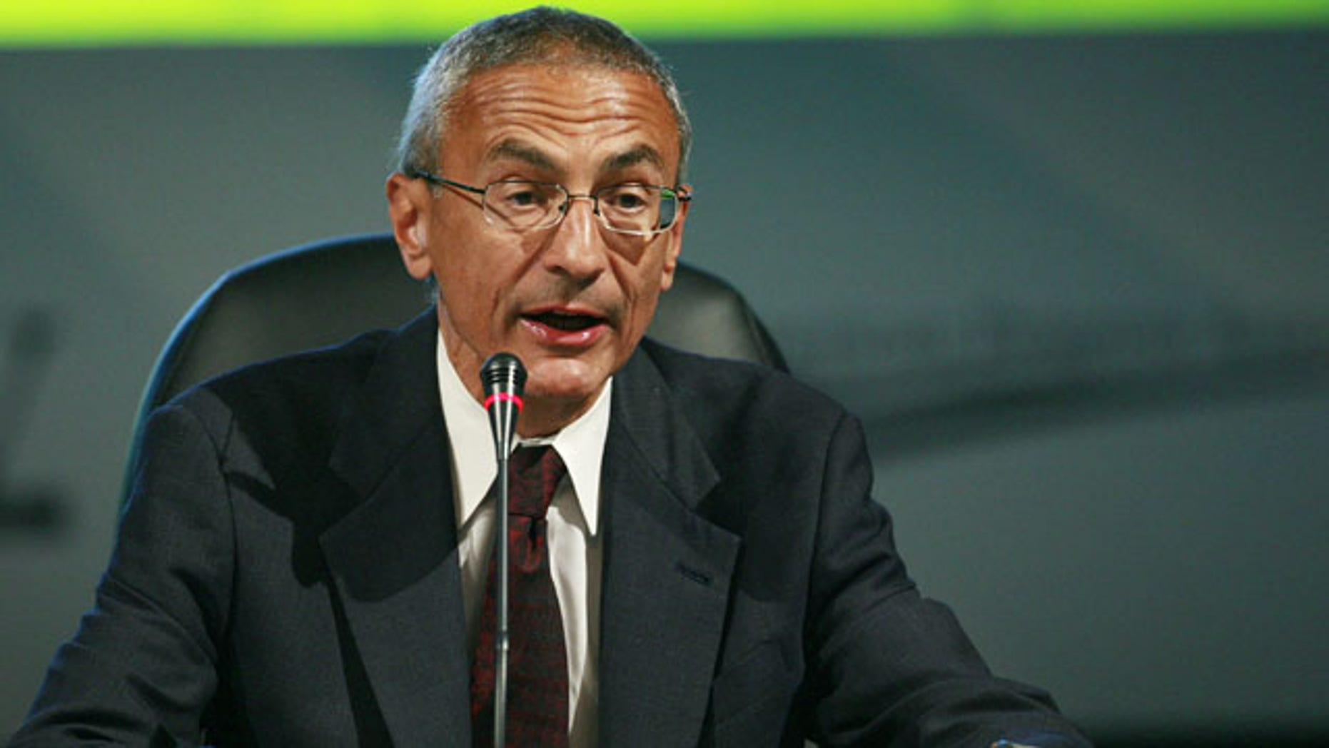 FILE - In this Monday, Aug. 10, 2009, file photo, Center for American Progress Action Fund President & CEO John Podesta speaks at the National Clean Energy Summit 2.0, at The Cox Pavillion in Las Vegas. (AP Photo)