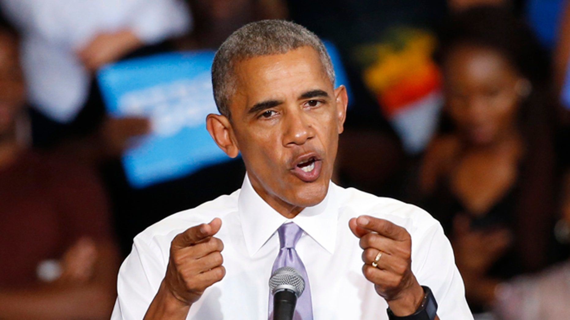 President Obama at Florida Memorial University, Thursday, Oct. 20, 2016, in Miami Gardens, Fla.