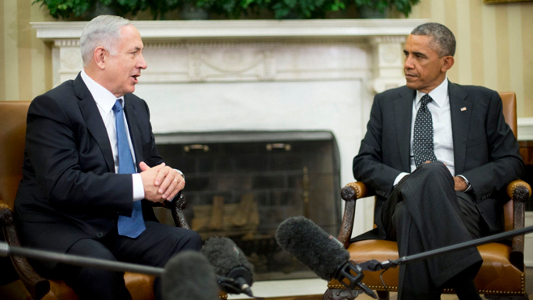 In this Oct. 1, 2014 file photo President Barack Obama meets with Israeli Prime Minister Benjamin Netanyahu in the Oval Office of the White House in Washington.