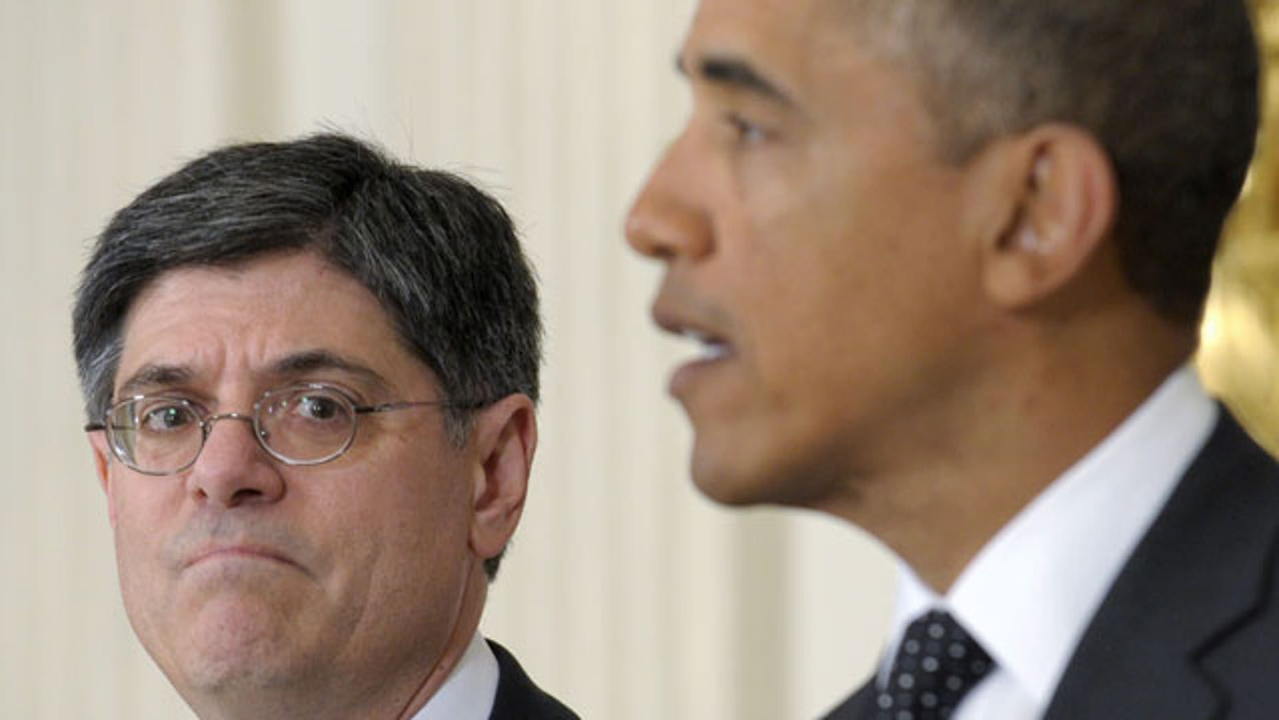 FILE: In this Jan. 9, 2012, photo, President Obama discusses Jacob Lew's move to become White House chief of staff in place of Bill Daley.