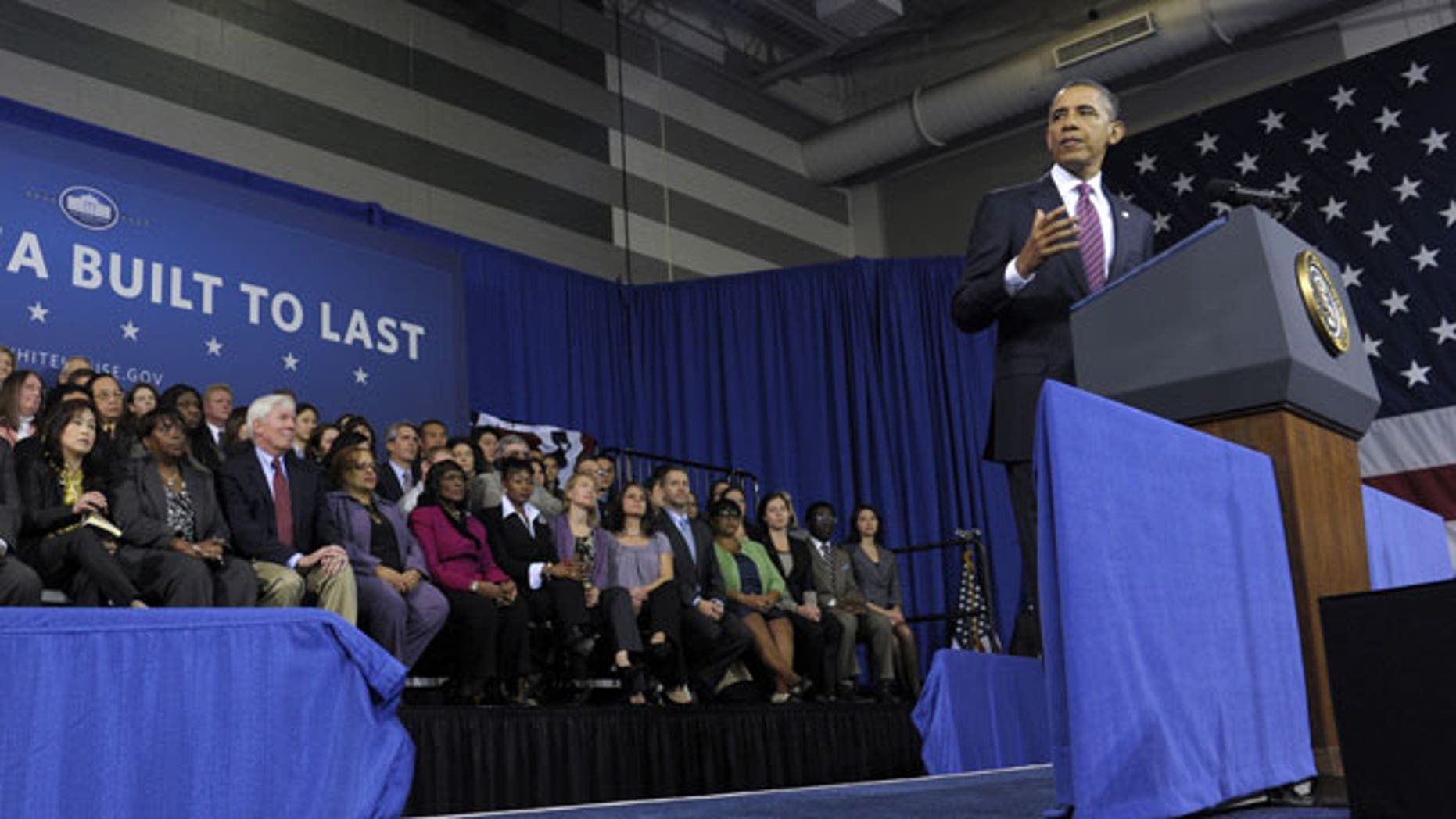 Feb. 1, 2012: President Barack Obama speaks at the James Lee Community Center in Falls Church, Va. Obama outlined a proposal he proposed in his State of the Union address to allow homeowners with privately held mortgages to take advantage of record low rates, for an annual savings of about $3,000 for the average borrower.
