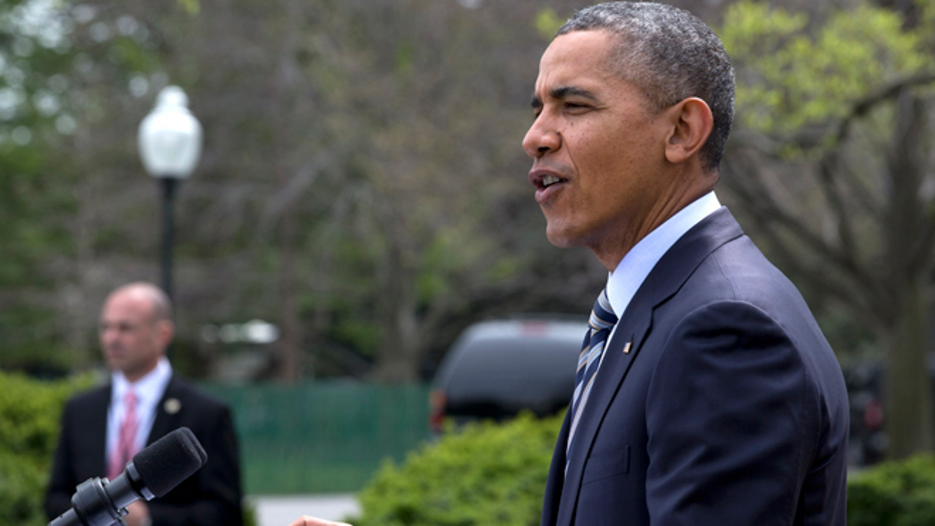 FILE - In this April 18, 2014 file photo, President Barack Obama speaks in the Rose Garden of the White House in Washington. House Speaker John  Boehner of Ohio says Congress is sending President Barack Obama legislation to build the Keystone XL pipeline on Tuesday. The White House is indicating Obama will quickly veto it in private over Republican lawmakers' urging that he sign it. It would be the third veto of Obama's presidency.  (AP Photo/Jacquelyn Martin, File)