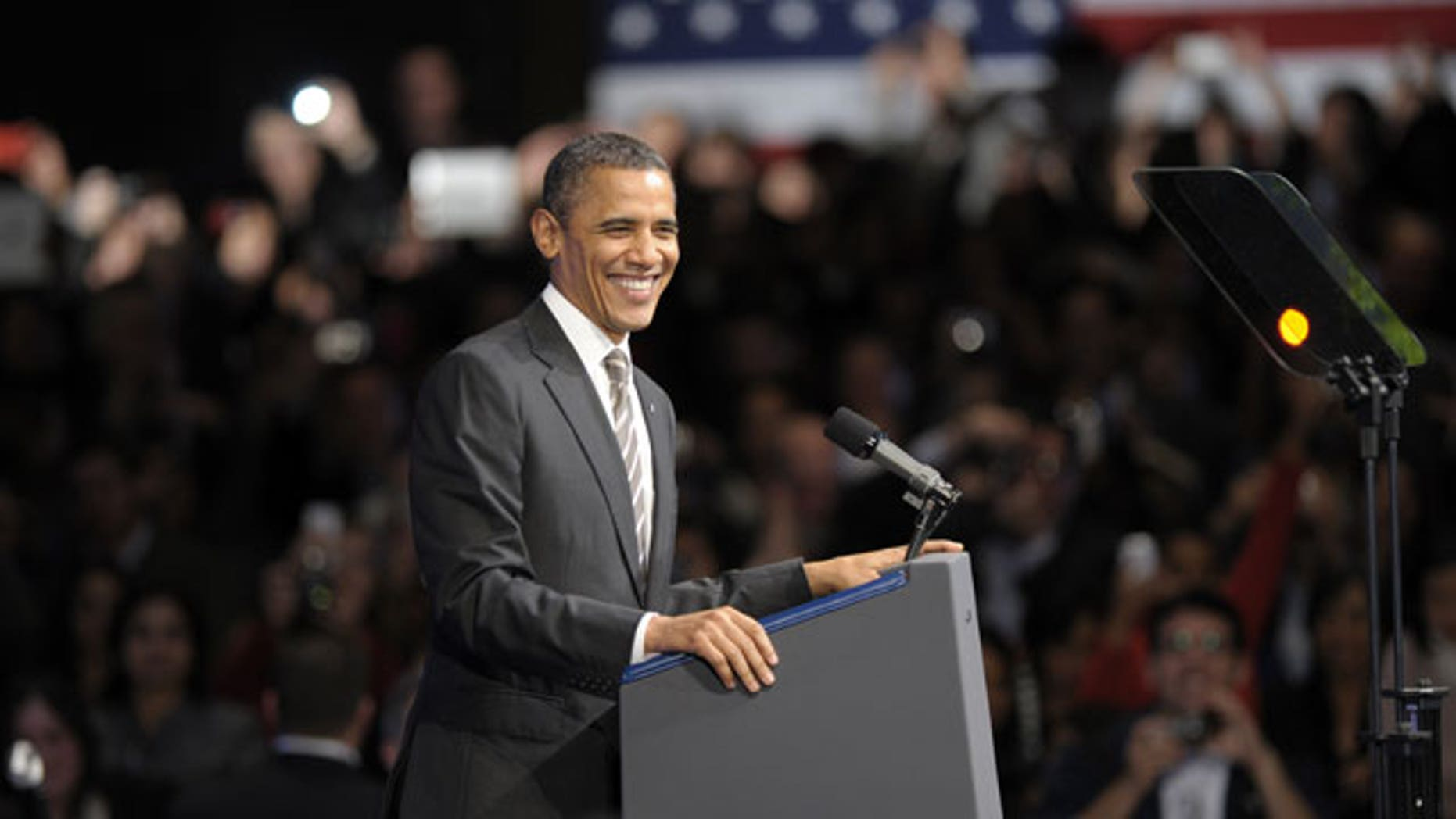 Feb. 16, 2012: President Barack Obama speaks at the Nob Hill Masonic Center in San Francisco.