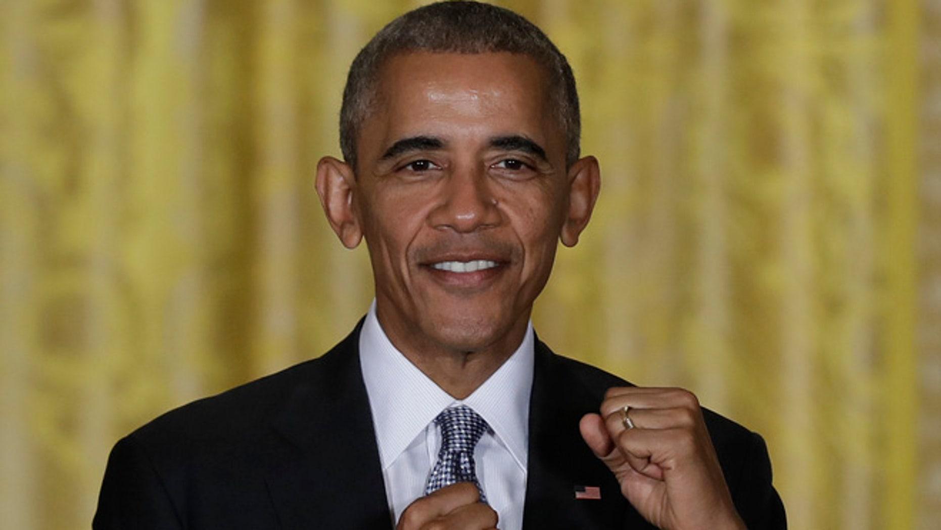 President Barack Obama in the East Room of the White House, Wednesday, Oct. 12, 2016.