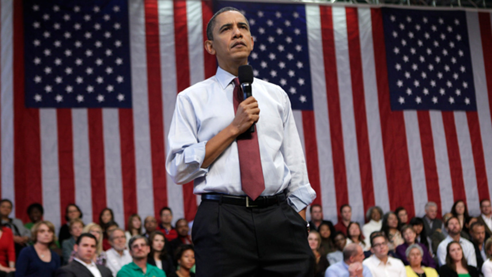 President Barack Obama takes part in a town hall meeting, Friday, Feb. 19, 2010, at Green Valley High School in Henderson, Nev. (AP Photo/Pablo Martinez Monsivais)