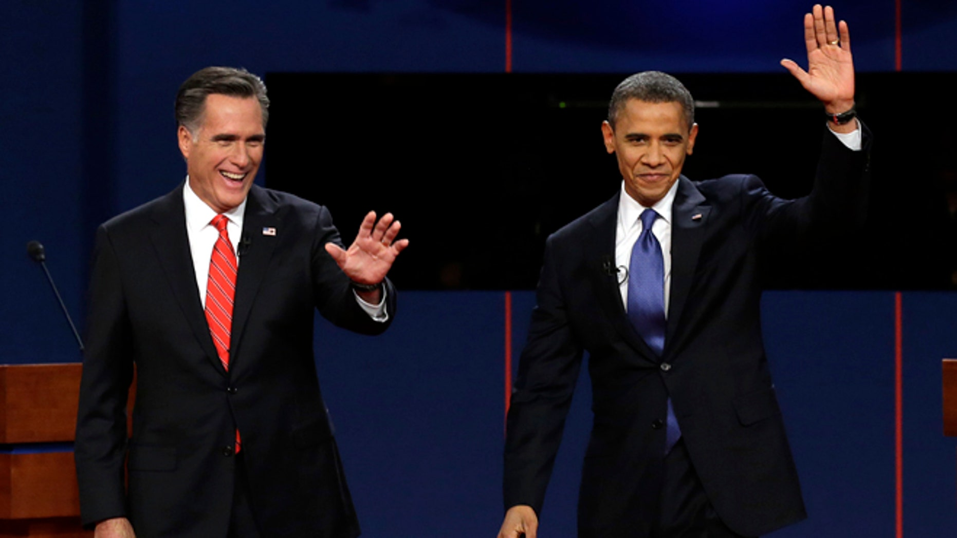 FILE: Oct. 3, 2012: Mitt Romney and President Obama during the first presidential debate at the University of Denver in Denver.
