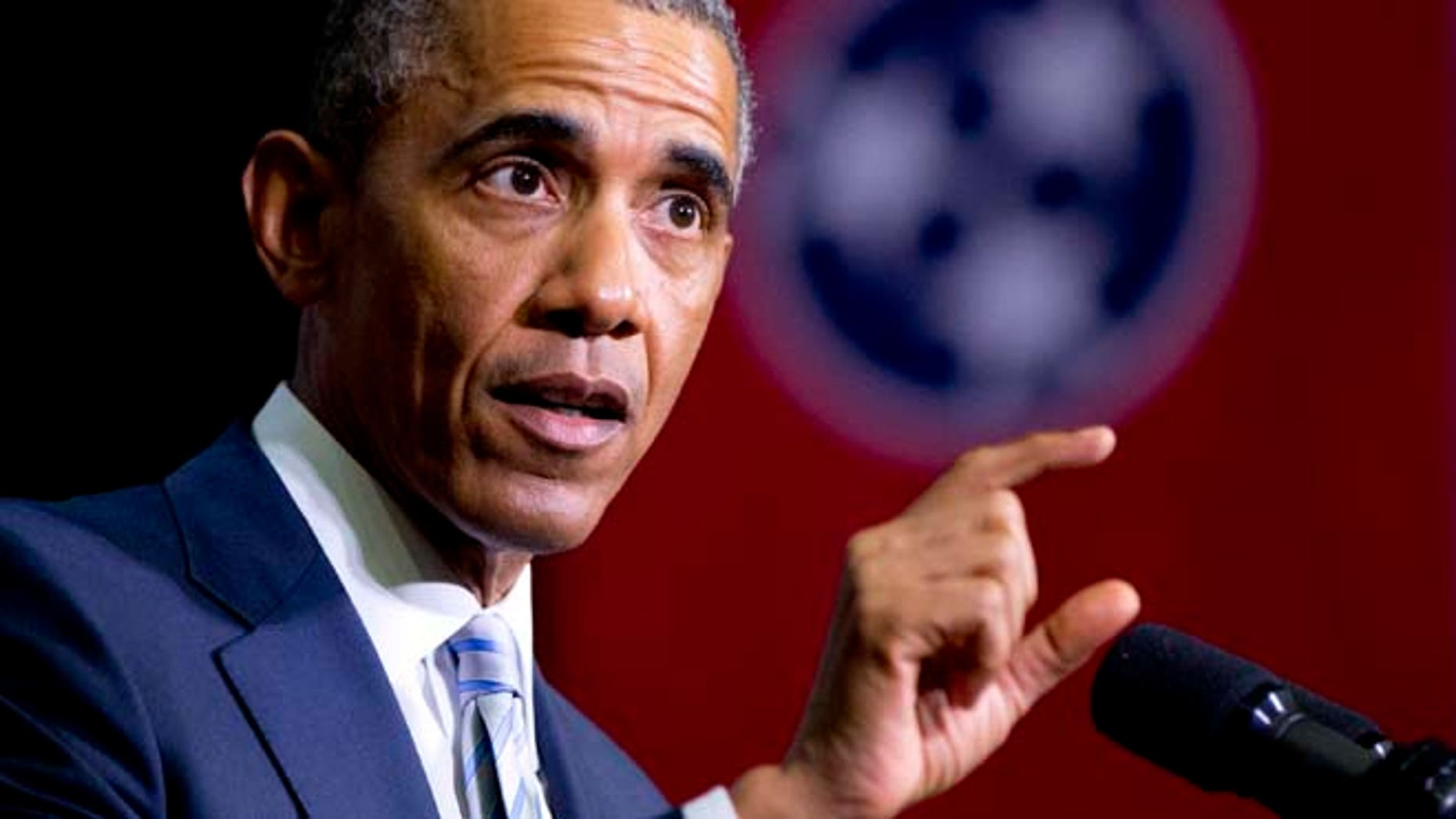 Jan. 9, 2015: President Barack Obama speaks at Pellissippi State Community College in Knoxville, Tenn., about new initiatives to help more Americans go to college and get the skills they need to succeed. (AP)