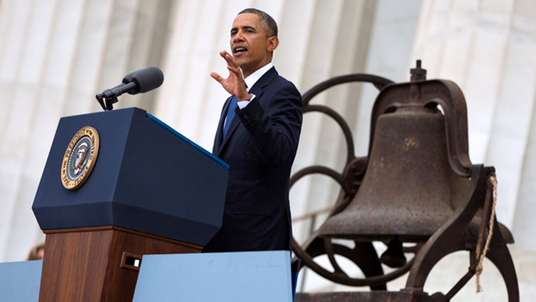 Aug. 28, 2013: Obama gestures while speaking at a ceremony commemorating the 50th anniversary of the March on Washington.