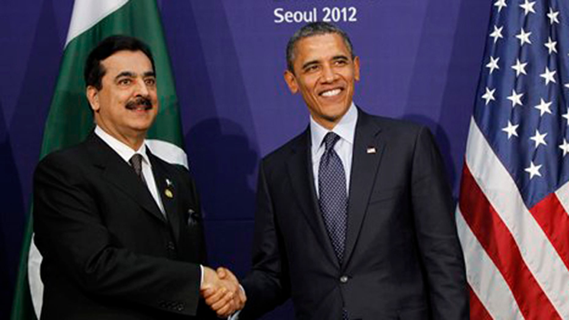 Mar. 27, 2012: Pakistani Prime Minister Syed Yusuf Raza Gilani, left, and U.S. President Barack Obama smile during their bilateral meeting on the sidelines of the Nuclear Security Summit in Seoul, South Korea.