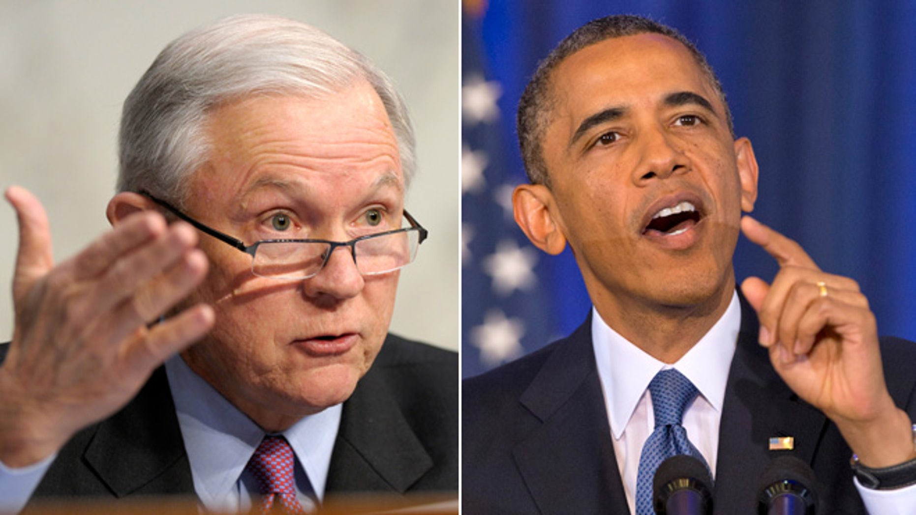Sen. Jeff Sessions, R-Ala., left and President Obama.