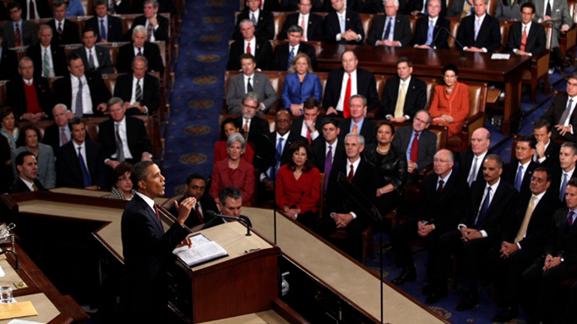 FILE - Jan. 24, 2012: President Barack Obama delivers his State of the Union address on Capitol Hill in Washington.