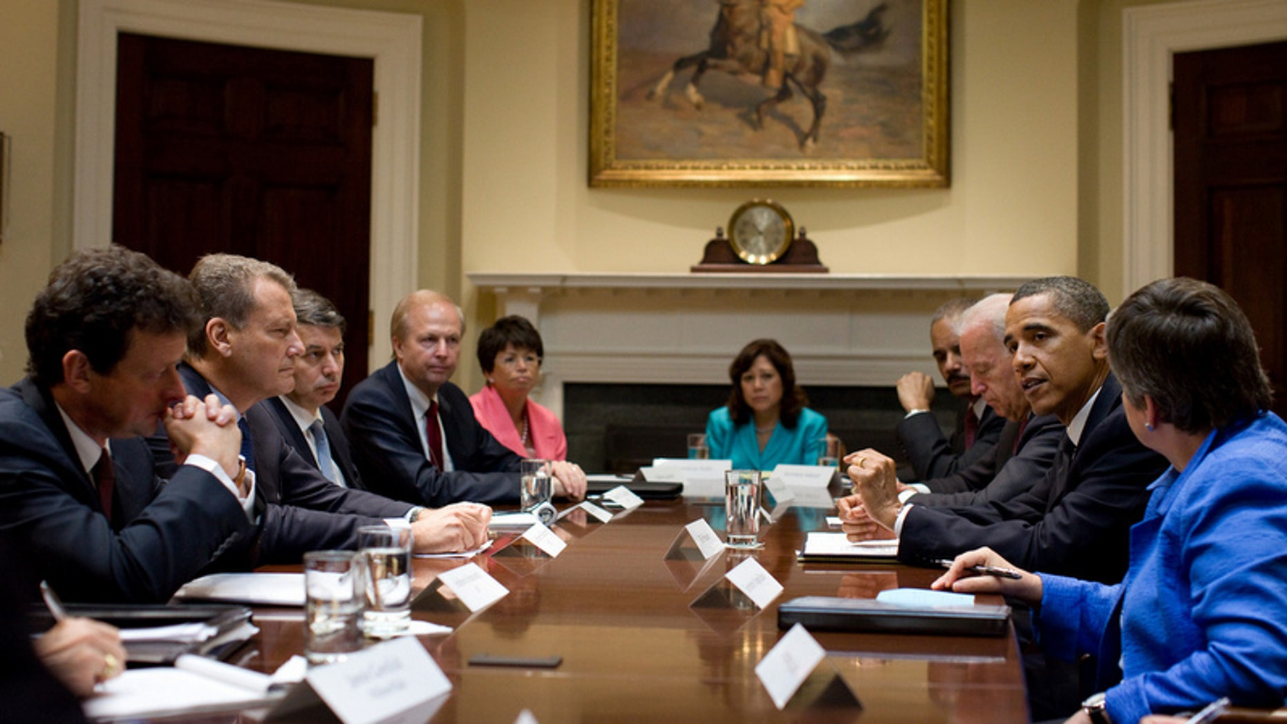 Wednesday: President Obama and Vice President Biden meet with BP executives in the Roosevelt Room of the White House to discuss the BP oil spill in the Gulf of Mexico. Pictured, from left, are BP CEO Tony Hayward, BP Chairman Carl-Henric Svanberg, BP General Counsel Rupert Bondy, BP Managing Director Robert Dudley, Senior Advisor Valerie Jarrett, Labor Secretary Hilda Solis, Attorney General Eric Holder, and Homeland Security Secretary Janet Napolitano. (Official White House Photo by Pete Souza)