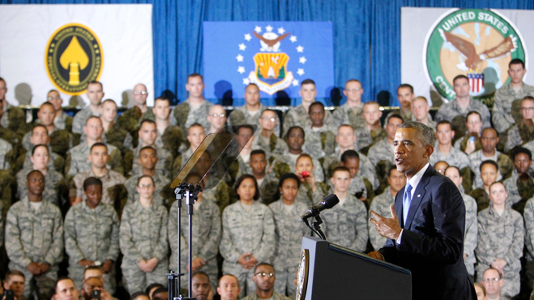 In this Wednesday, Sept. 17, 2014 photo, President Barack Obama delivers a speech to the soldiers at US Central Command (CentCom) at MacDill Air Force Base, Fla.